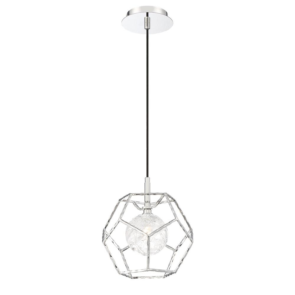 Eurofase Norway 5 Watt Standard Led Pendant Chrome With Clear Glass Shade Pertaining To Millbrook 5 Light Shaded Chandeliers (View 17 of 30)