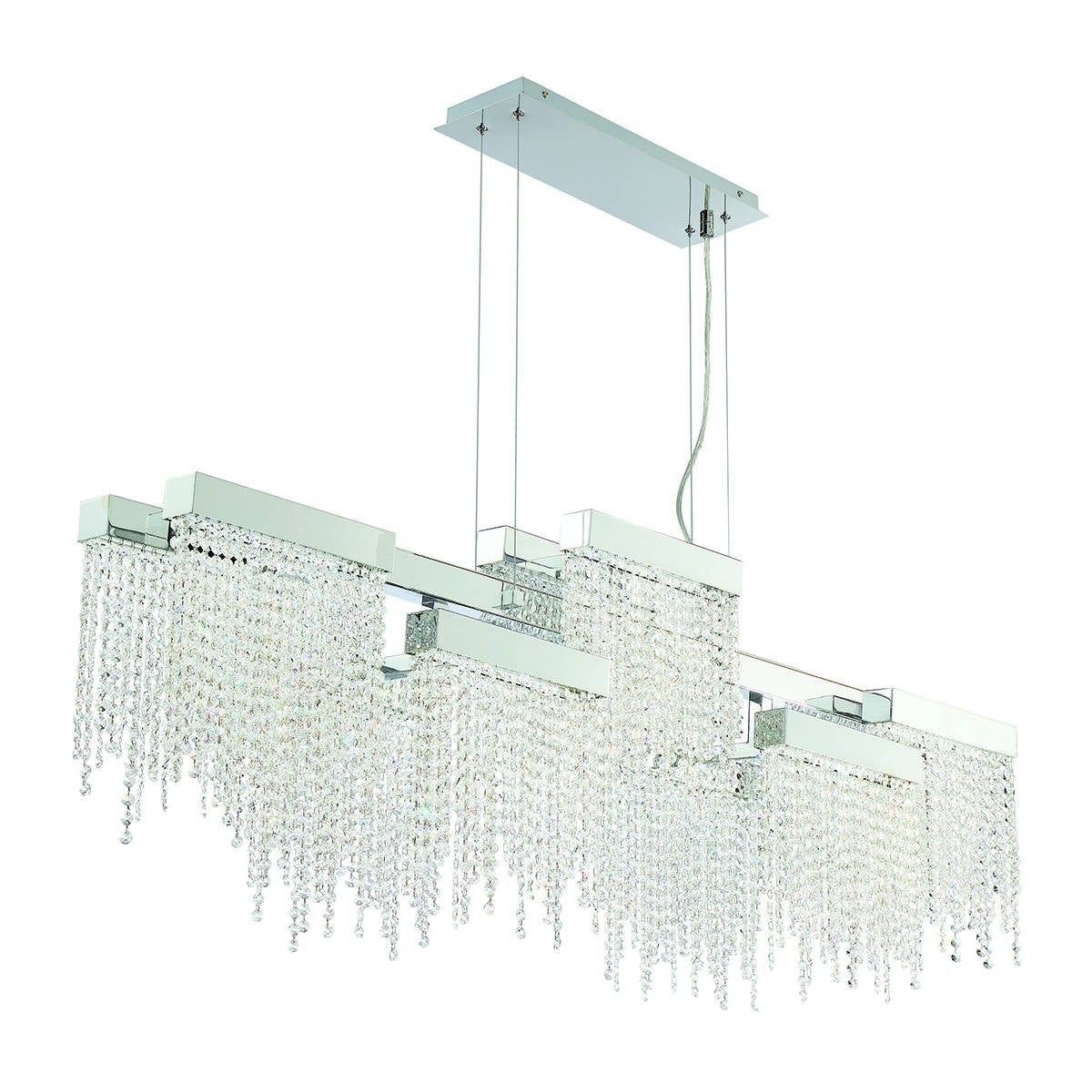 """Eurofase Rossi 10 Light Linear Led Chandelier, Chrome Finish   30005 013    21.25"""" High X 51.25"""" Long X 9"""" Wide In Rossi Industrial Vintage 1 Light Geometric Pendants (Photo 13 of 30)"""