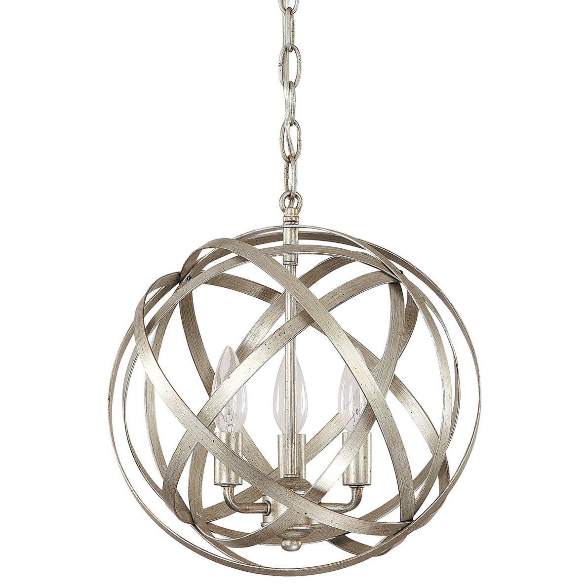 Everly Quinn Adcock 3 Light Globe Pendant In Alden 3 Light Single Globe Pendants (View 23 of 30)