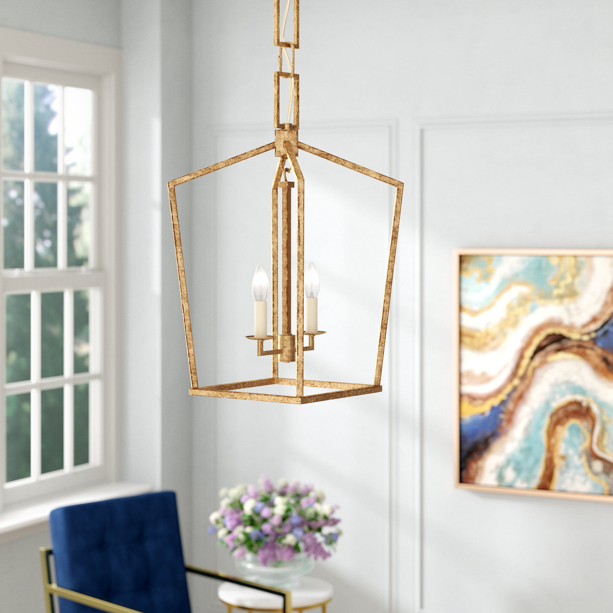 Everly Quinn Isoline 2-Light Geometric Pendant regarding Isoline 2-Light Lantern Geometric Pendants (Image 7 of 30)