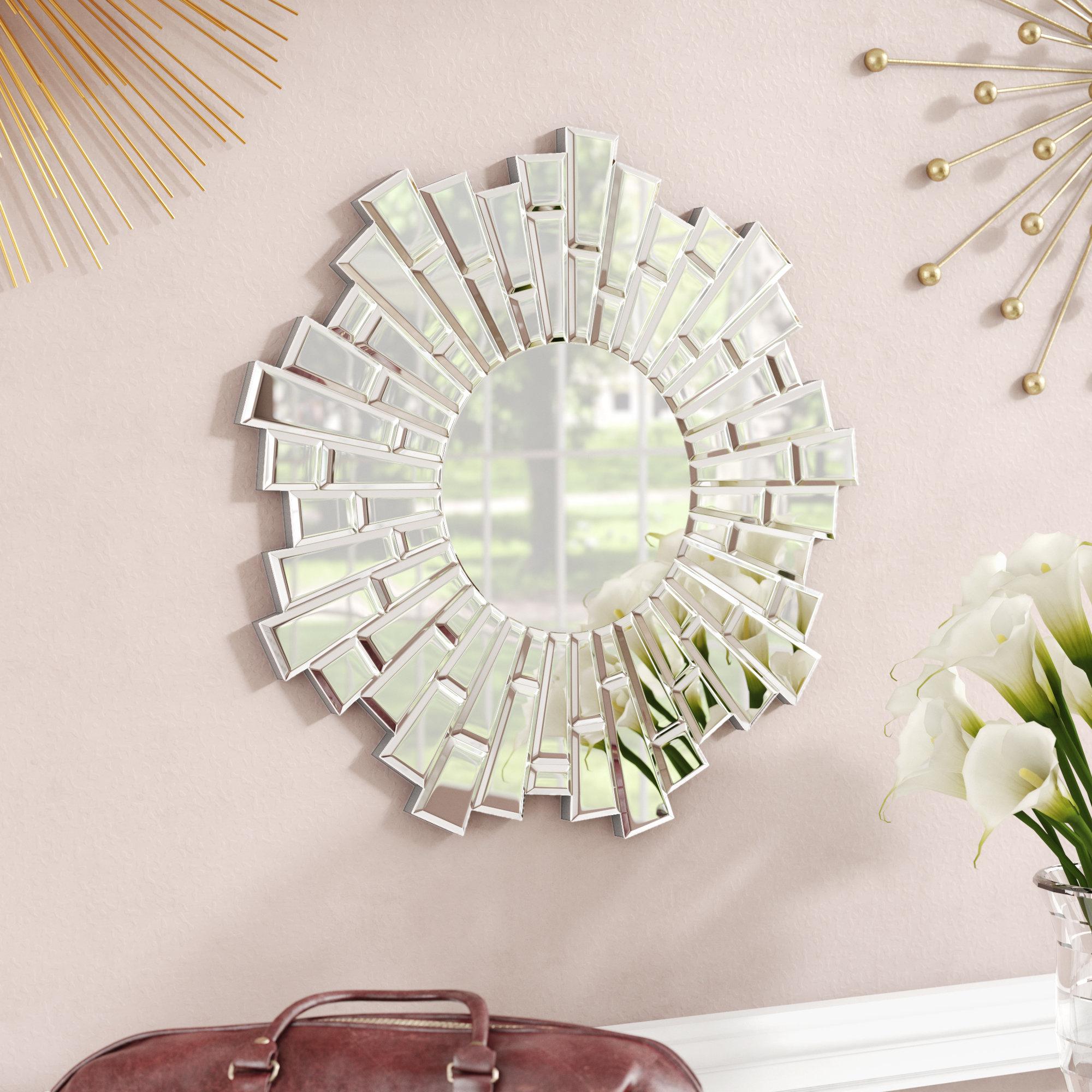 Everly Quinn Naoma Modern Sunburst Glass Accent Mirror For Estrela Modern Sunburst Metal Wall Mirrors (View 6 of 30)