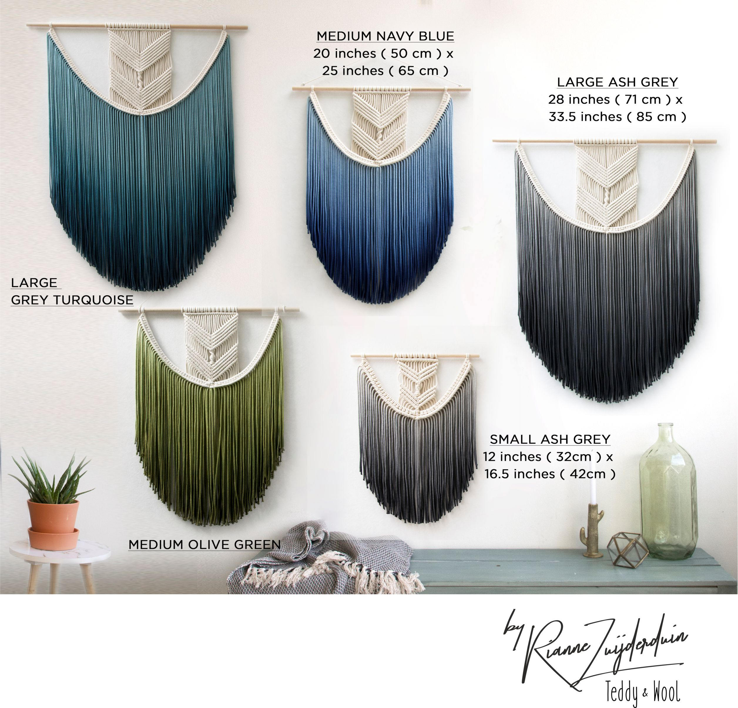 """Extra Large Macrame Wall Hanging – Woven Tapestry – Color Macrame Wall Art – Wall Decor – Dip Dye Fiber Art – Nursery Decor – """"eva"""" In Olive/gray Metal Wall Decor (Gallery 30 of 30)"""