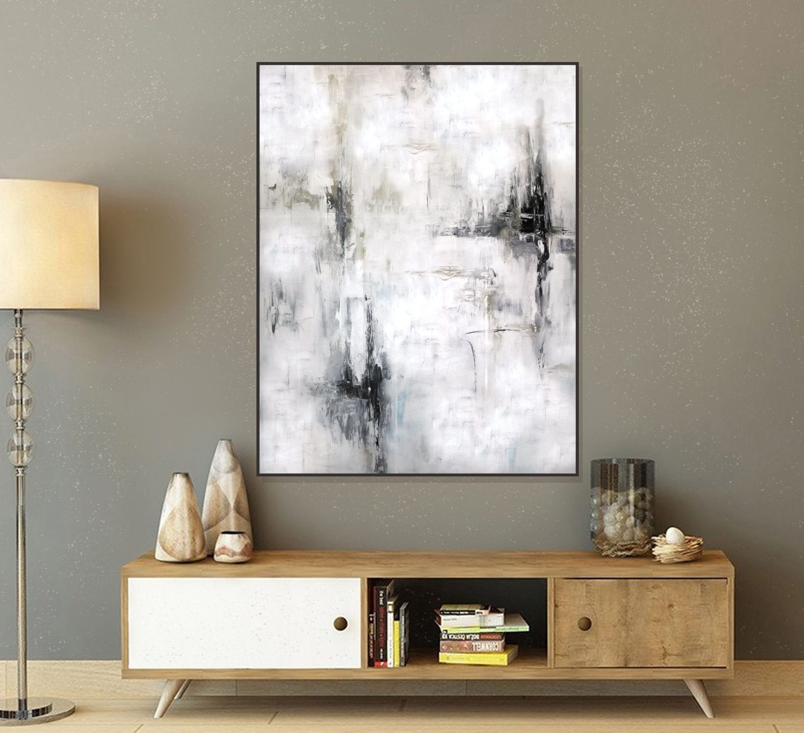 Extra Large Wall Art - Original Abstract Painting - White Artwork  Minimalist Landscape - Modern Industrial Wall Decor- White Abstract Art intended for Large Modern Industrial Wall Decor (Image 4 of 30)