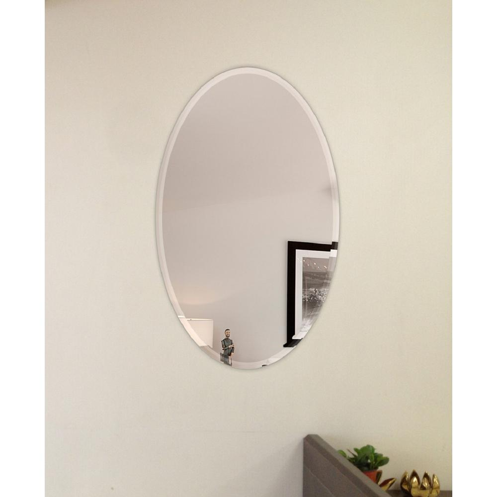 Fab Glass And Mirror 22 In. X 30 In. Oval Beveled Polish with Yedinak Modern Distressed Accent Mirrors (Image 4 of 30)