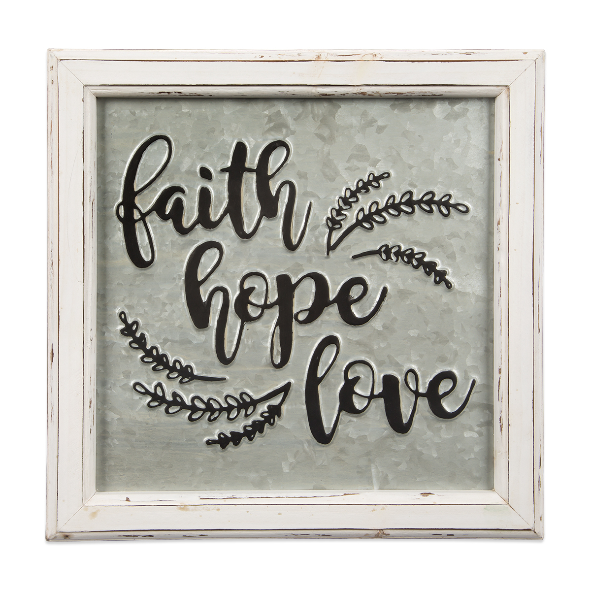 Faith Hope Love Embossed Metal Sign For Faith, Hope, Love Raised Sign Wall Decor (View 3 of 30)