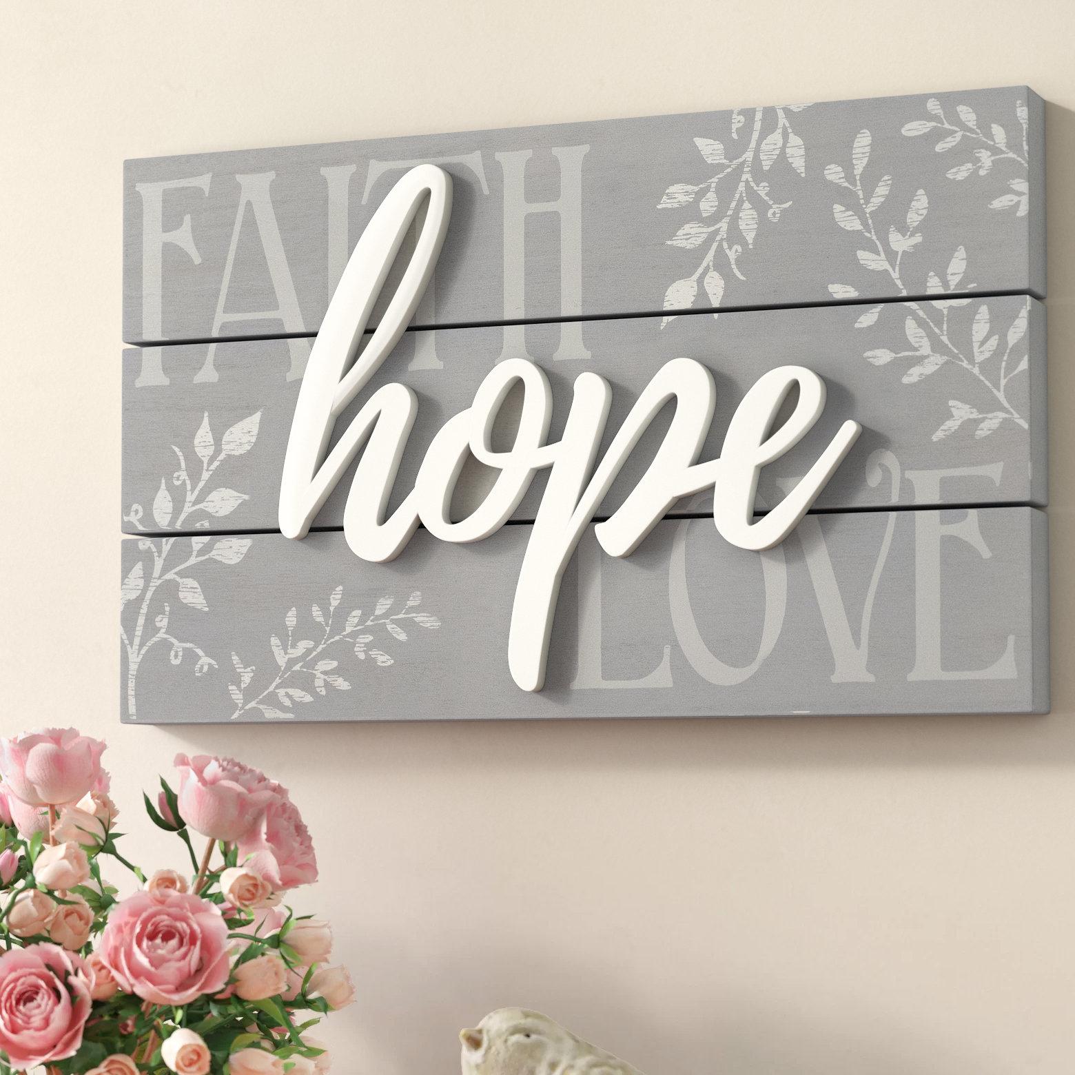 Featured Photo of Faith, Hope, Love Raised Sign Wall Decor