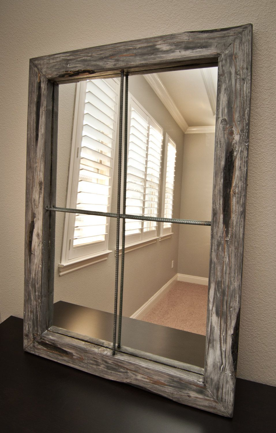 Fake Window Mirror Since I Only Have 3 Windows. | Bedroom within Old Rustic Barn Window Frame (Image 8 of 30)