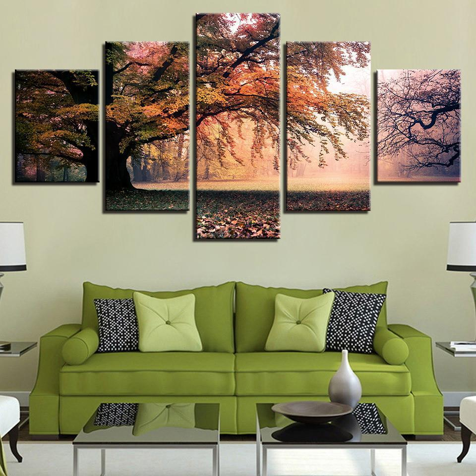 Falling Leaves 5 Piece Canvas Art Wall Art Picture Painting regarding Flowing Leaves Wall Decor (Image 8 of 30)