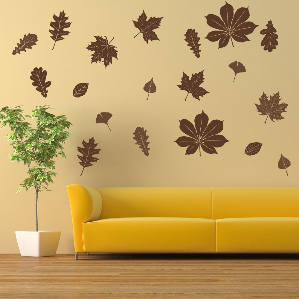 Falling Leaves Wall Decal Vinyl Art Home Decor with Flowing Leaves Wall Decor (Image 12 of 30)