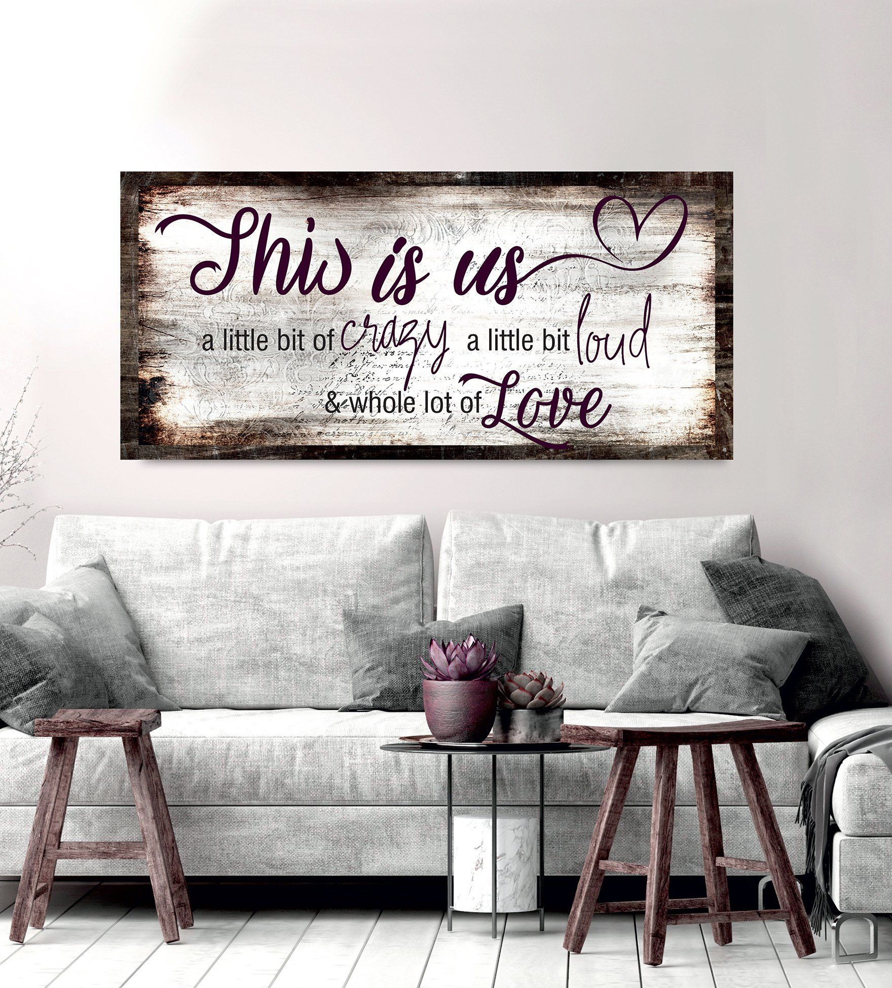 Family Wall Art: This Is Us A Little Crazy V2 (Wood Frame pertaining to This Is Us Wall Decor (Image 5 of 30)