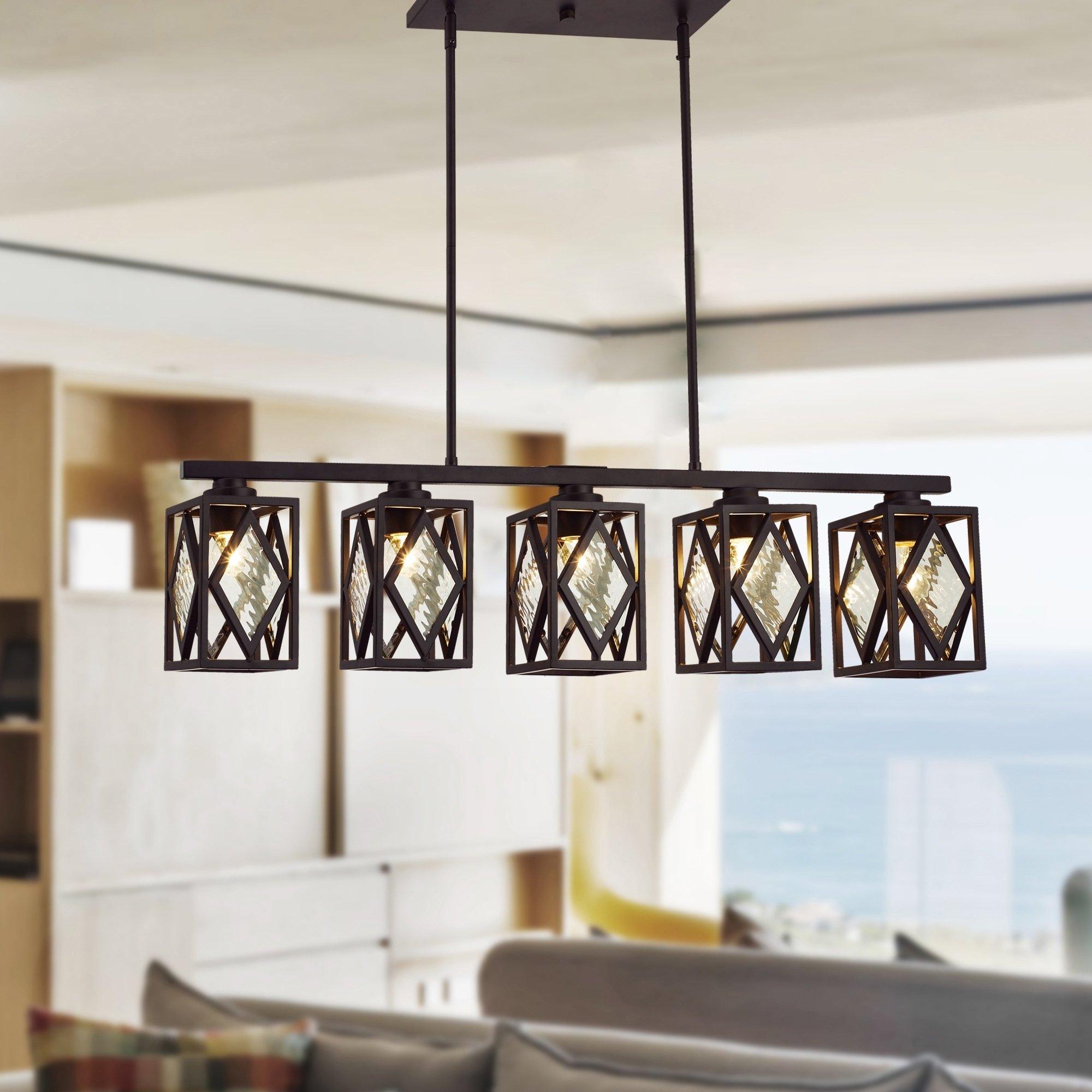 Fanwel Oil Rubbed Bronze 5 Light Linear Chandelier Throughout Delon 5 Light Kitchen Island Linear Pendants (View 13 of 15)