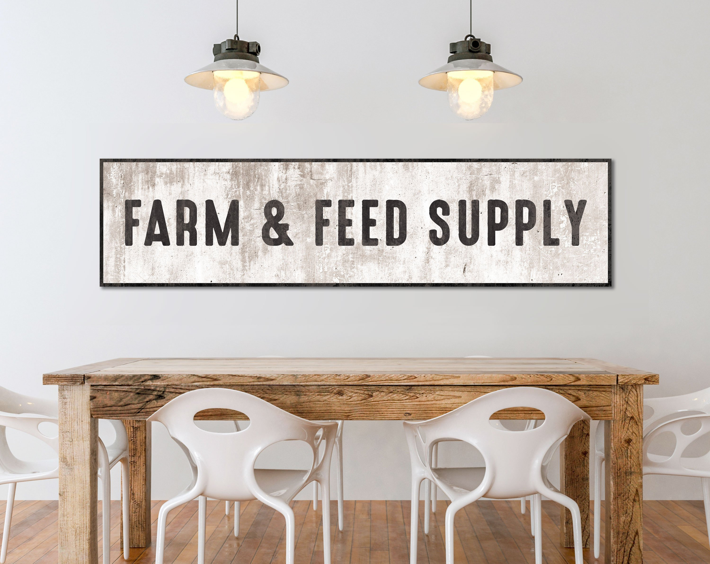 Farm And Feed Supply Sign, Large Modern Farmhouse Wall Decor, Industrial  Farmhouse Wall Art, Rustic Kitchen Sign, Vintage Living Room Decor In Large Modern Industrial Wall Decor (Photo 23 of 30)