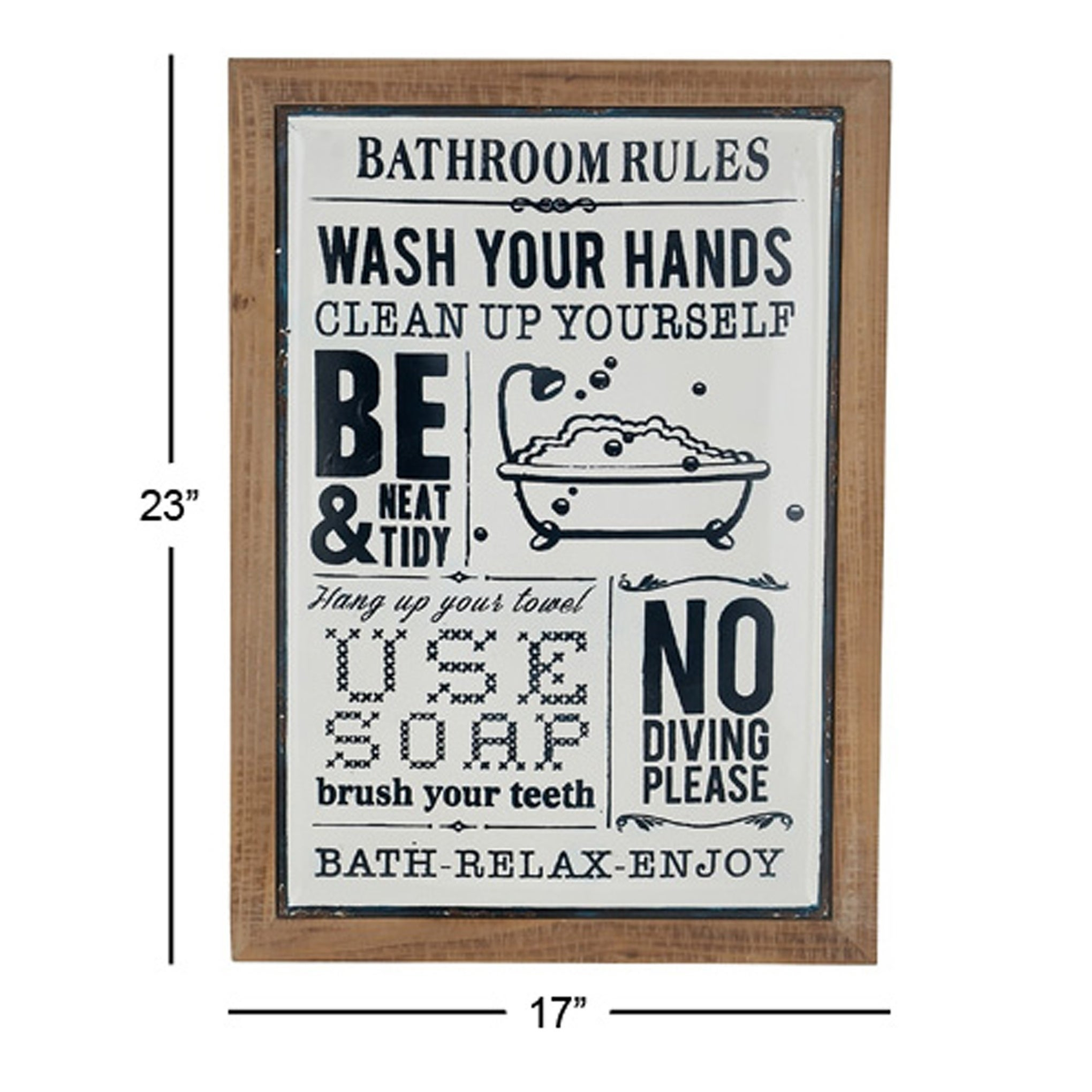 Farmhouse 23 X 17 Inch Rectangular Bathroom Rules Wall Decor With Regard To 3 Piece Wash, Brush, Comb Wall Decor Sets (set Of 3) (View 17 of 30)