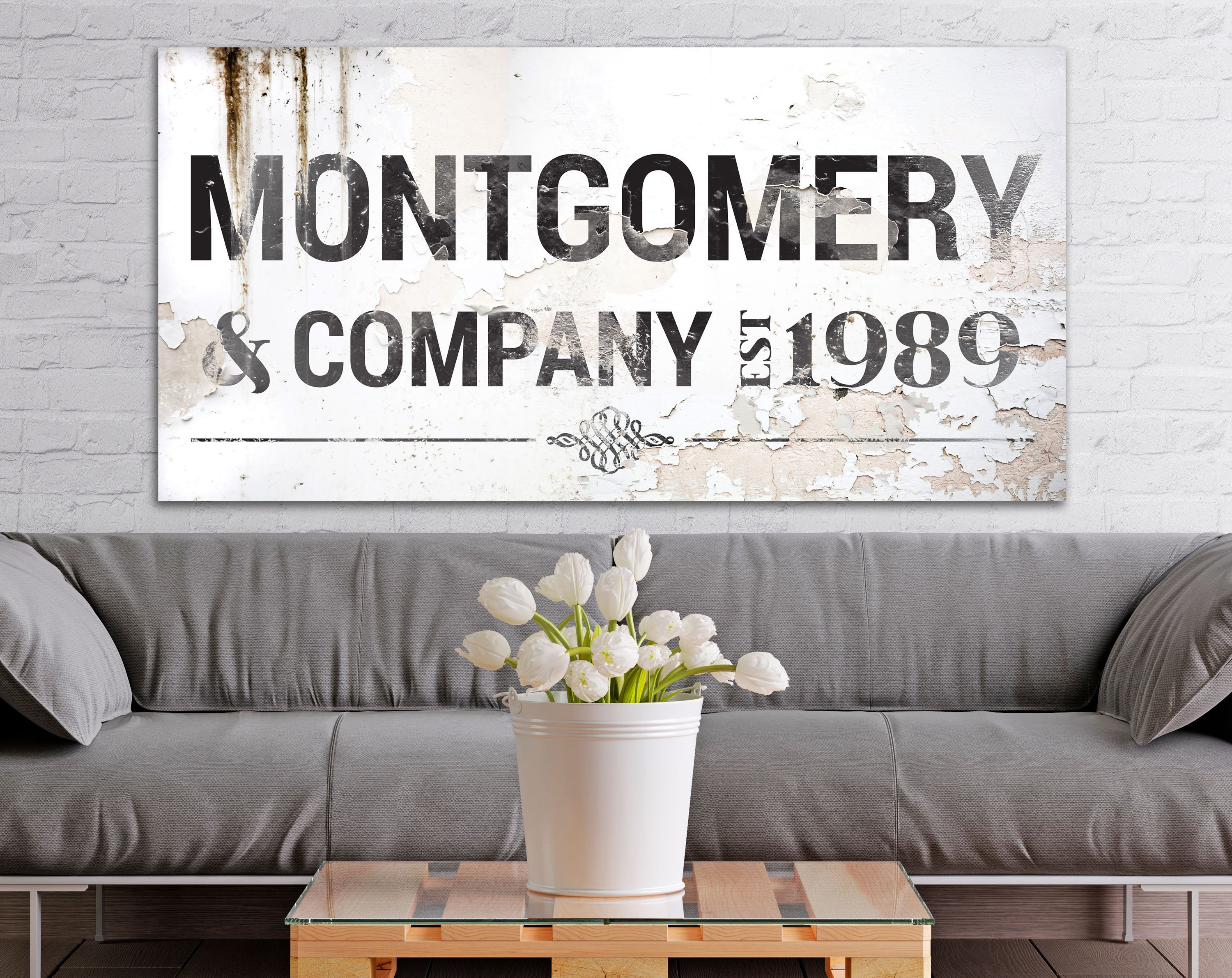 Farmhouse Family Wall Art, Industrial Modern Decor, Large Established Last  Name Sign, Rustic Home Decor Print with regard to Large Modern Industrial Wall Decor (Image 7 of 30)