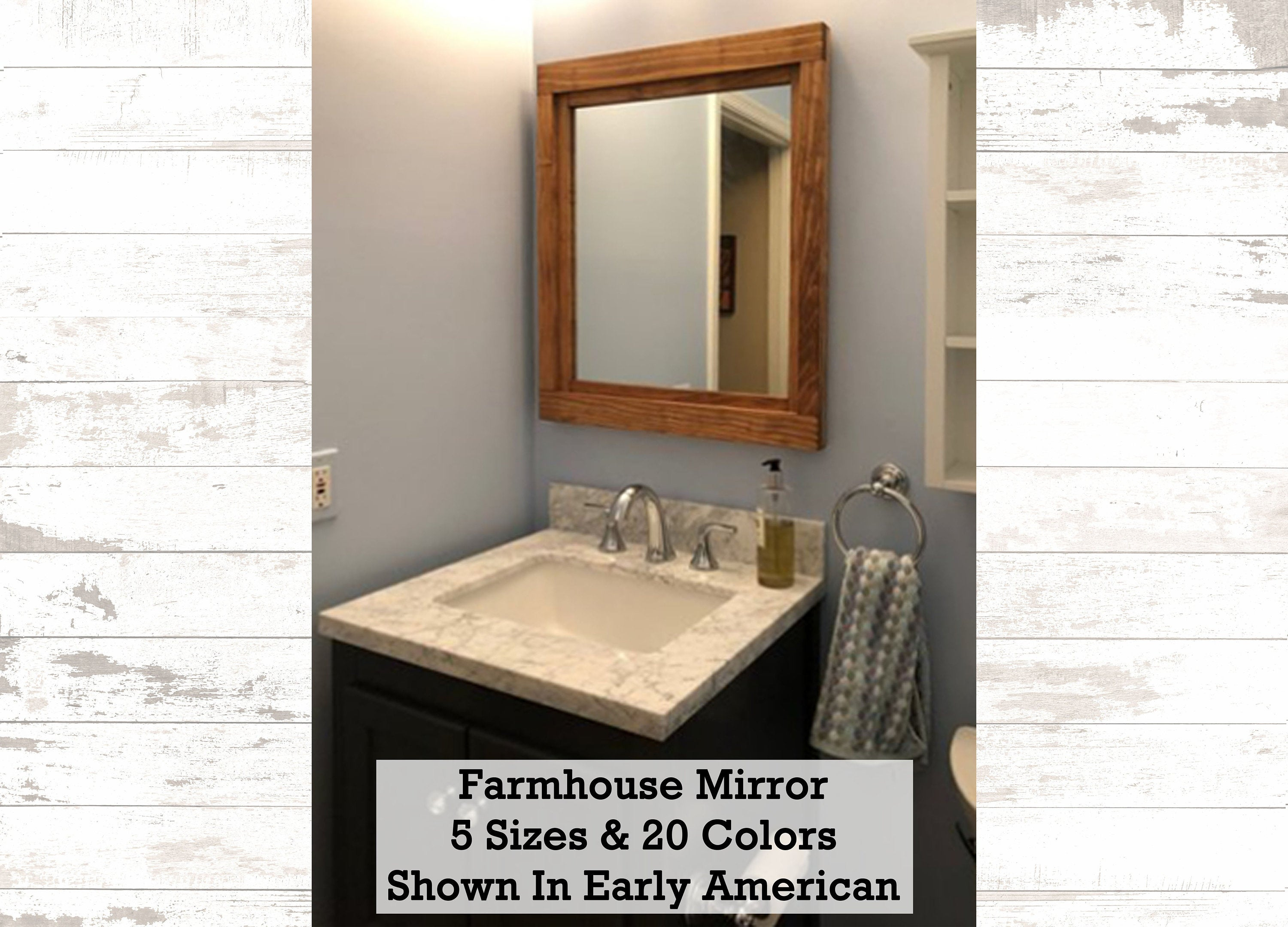 Farmhouse Mirror Wall Decor, Rustic Wood Frame Mirror – Wall Mirror – Bathroom Decor – Vanity Mirror – 5 Sizes – 20 Colors Early American In Caja Rectangle Glass Frame Wall Mirrors (View 5 of 30)