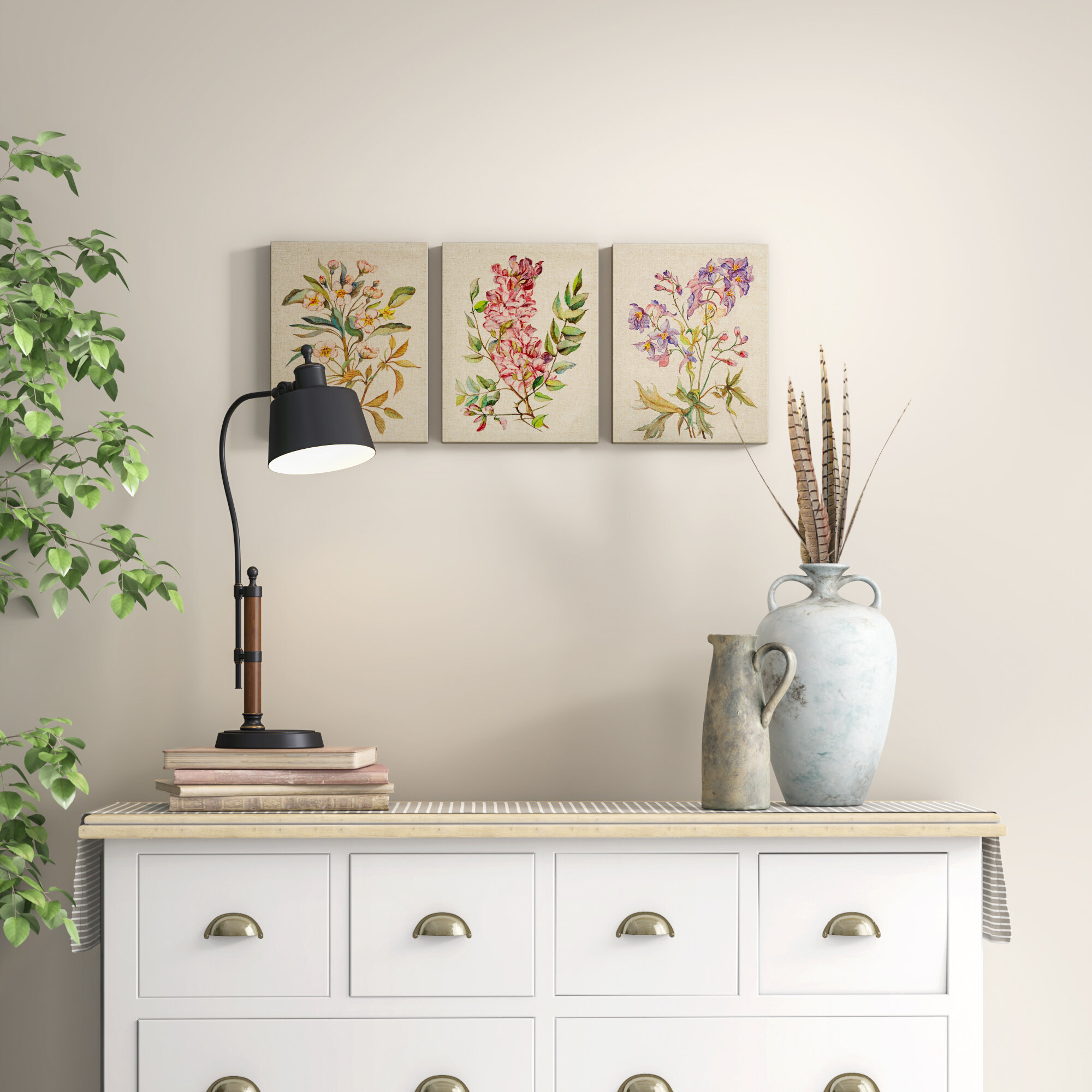 Farmhouse & Rustic 3 Piece Wall Art | Birch Lane Throughout 3 Piece Magnolia Brown Panel Wall Decor Sets (View 15 of 30)