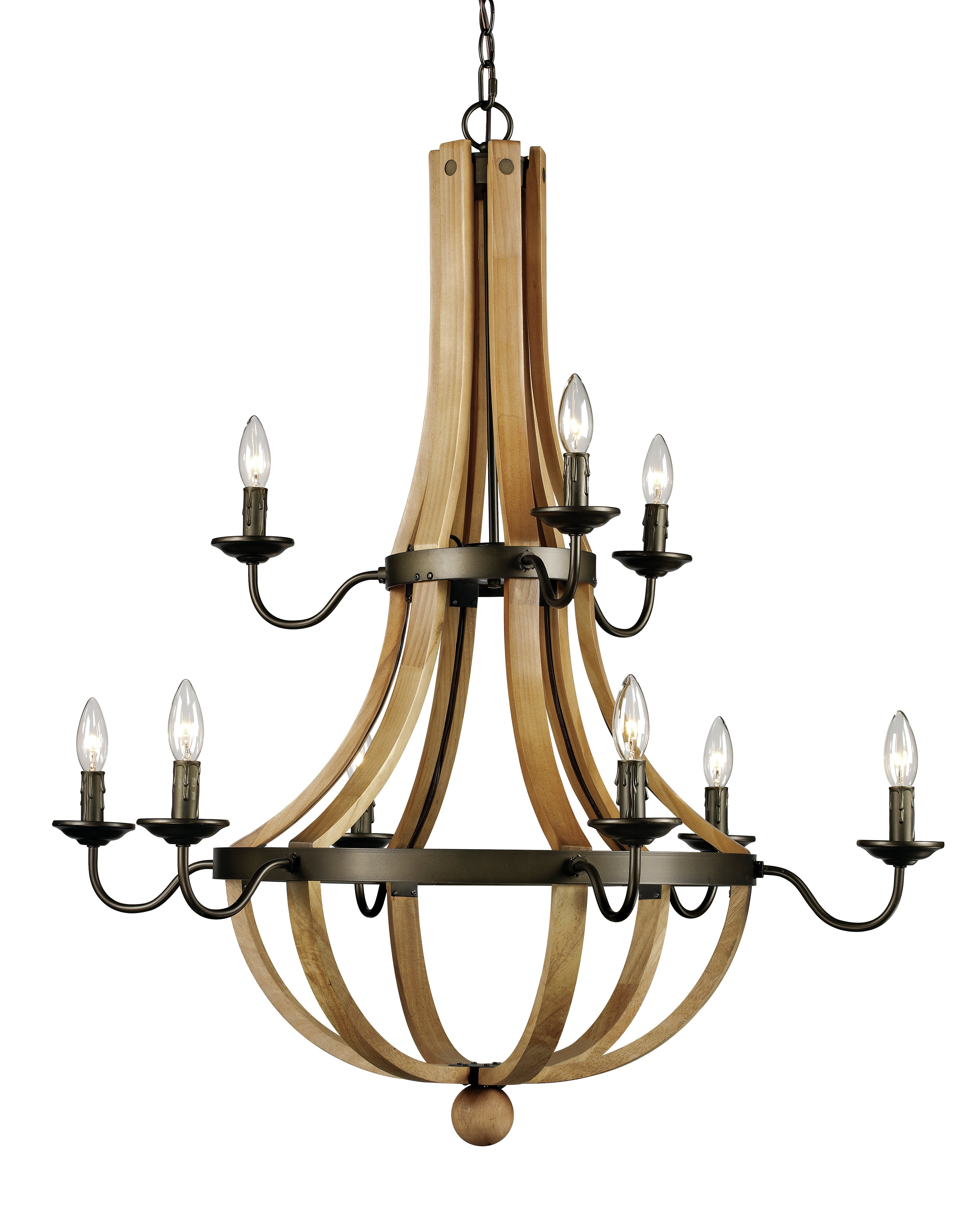 Farmhouse & Rustic 7-10 Chandeliers | Birch Lane regarding Watford 9-Light Candle Style Chandeliers (Image 14 of 30)