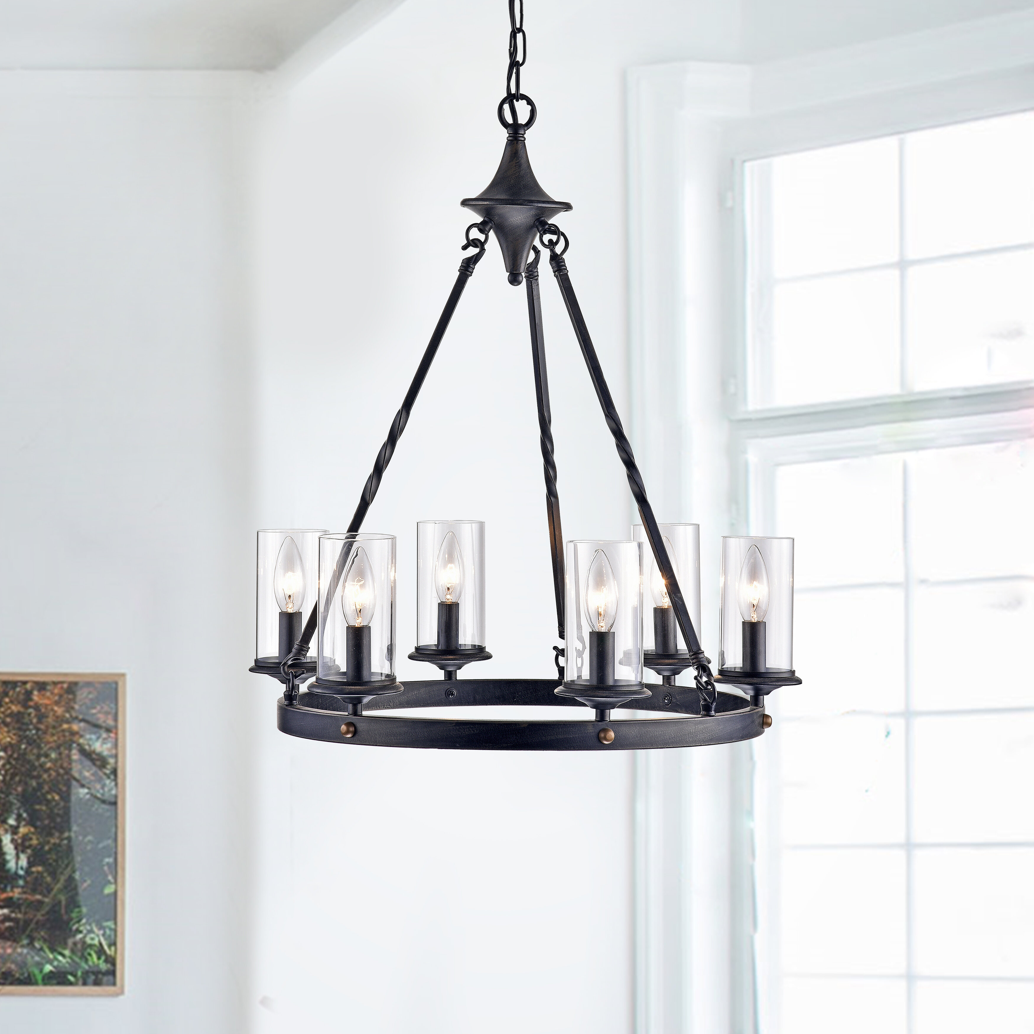 Farmhouse & Rustic Andover Mills Chandeliers | Birch Lane with regard to Suki 5-Light Shaded Chandeliers (Image 9 of 30)