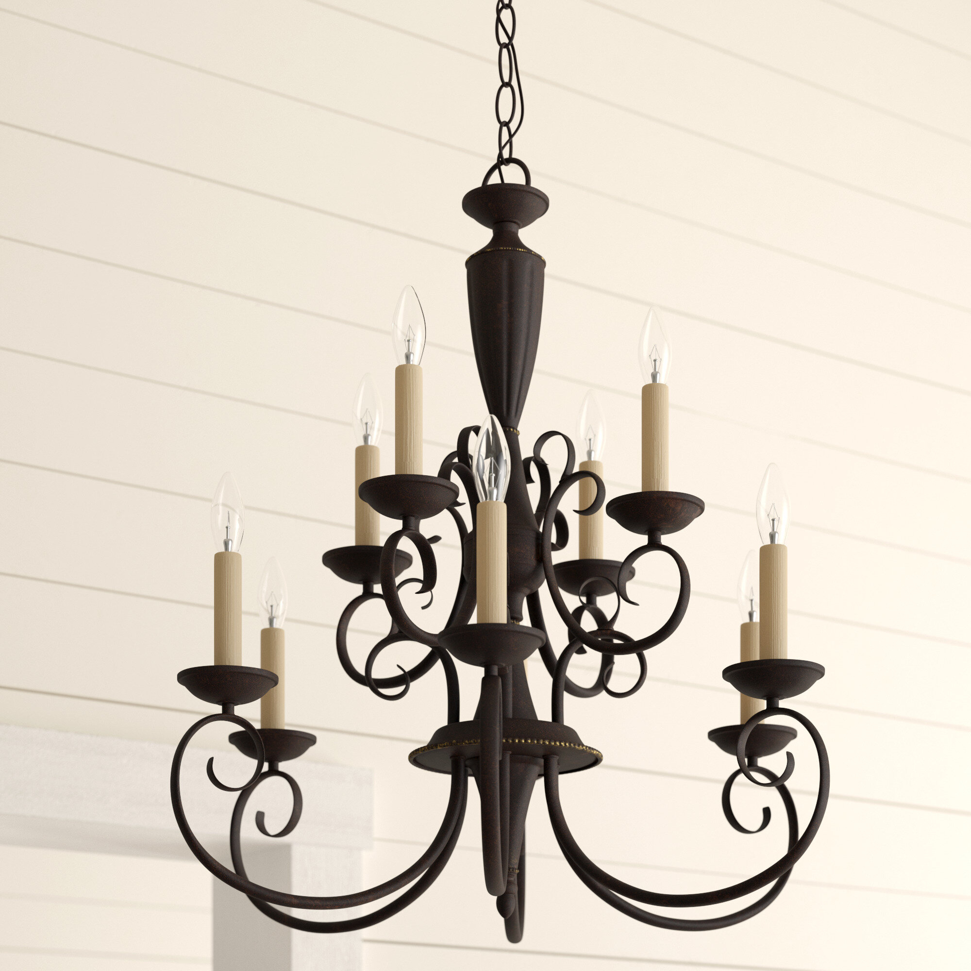 Farmhouse & Rustic Charlton Home Chandeliers | Birch Lane Regarding Kenedy 9 Light Candle Style Chandeliers (View 21 of 30)