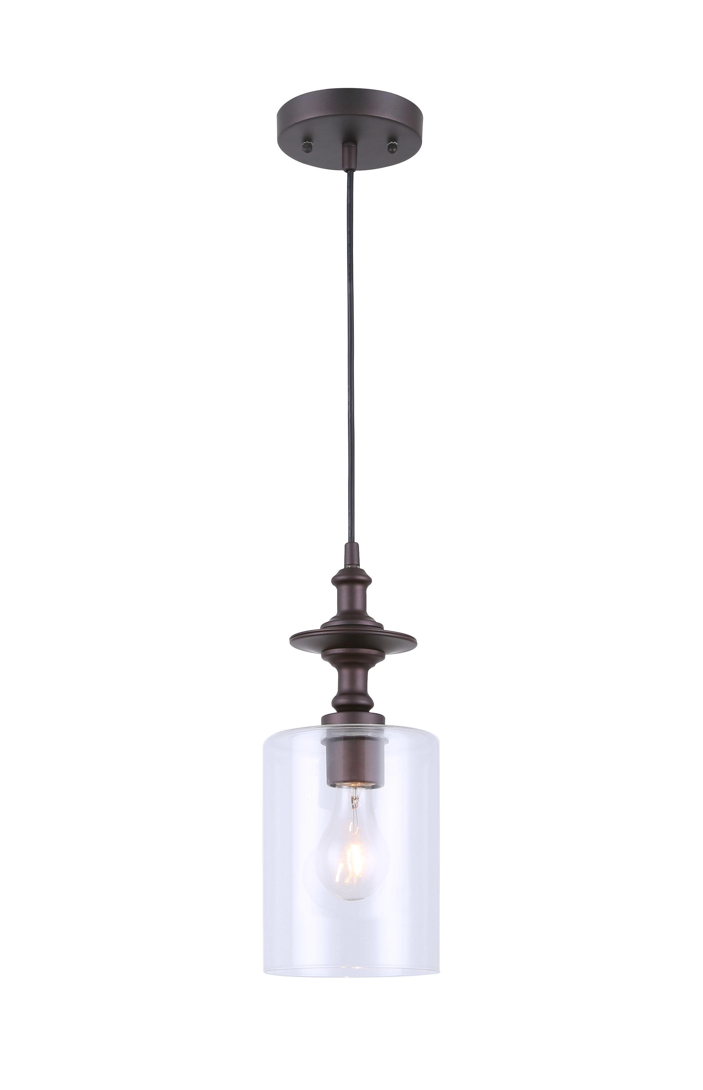 Farmhouse & Rustic Clear/glass Shade Pendants | Birch Lane Regarding Hurst 1 Light Single Cylinder Pendants (View 19 of 30)