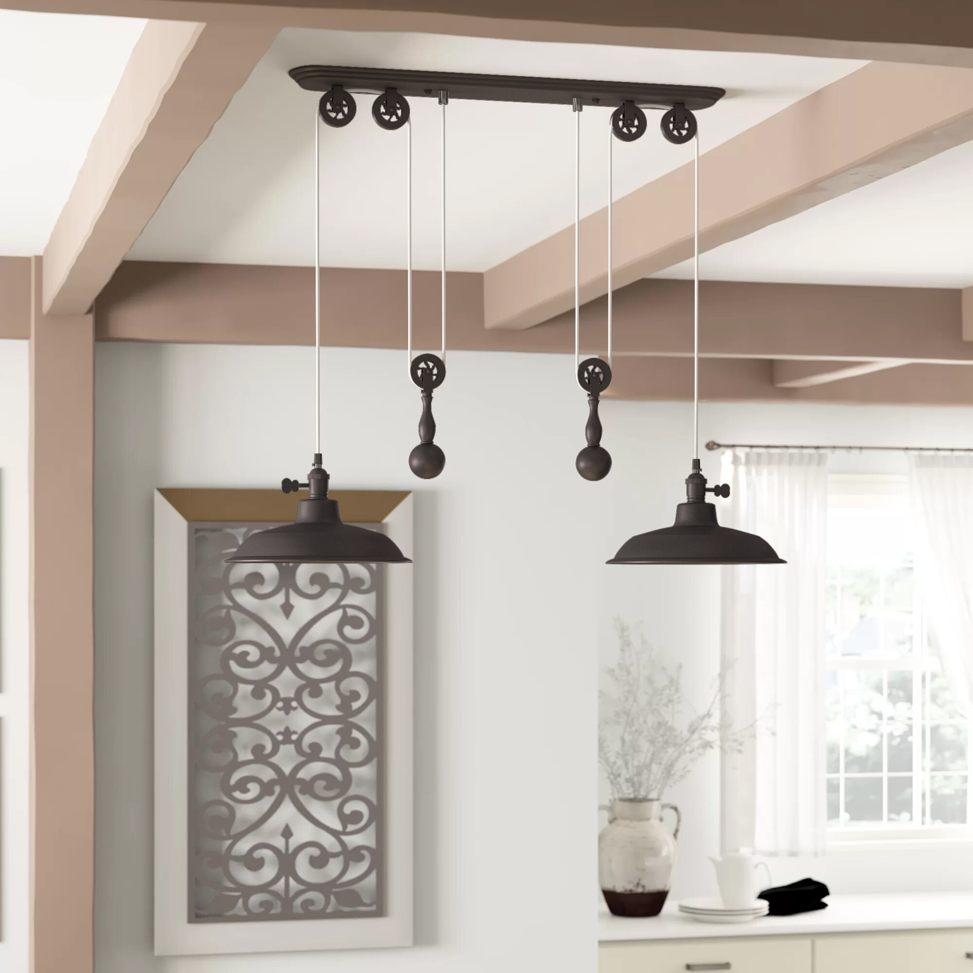 Farmhouse & Rustic Dome Kitchen Island Pendants | Birch Lane Within Ariel 3 Light Kitchen Island Dome Pendants (Image 15 of 30)