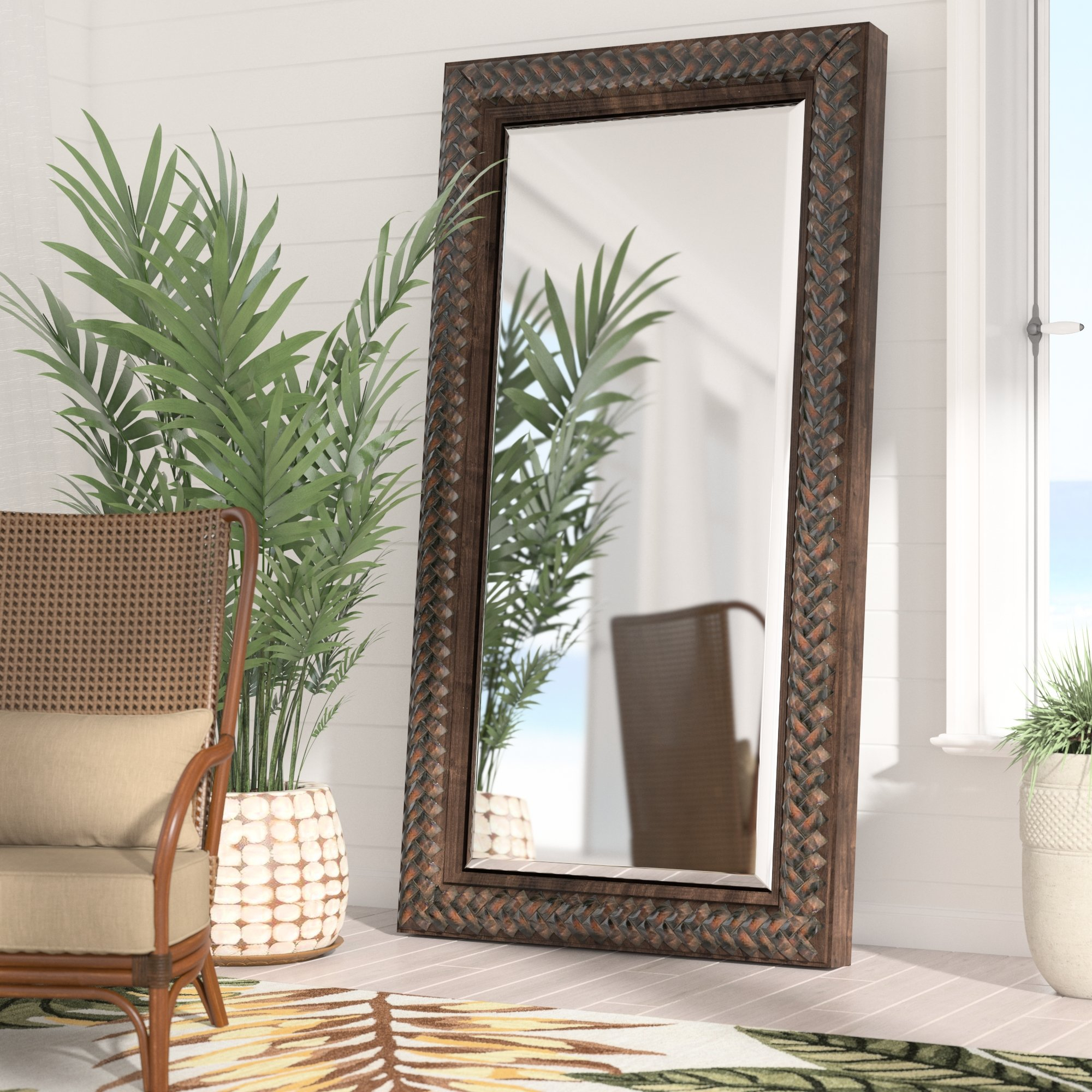 Farmhouse & Rustic Floor Mirrors | Birch Lane Pertaining To Handcrafted Farmhouse Full Length Mirrors (View 11 of 30)