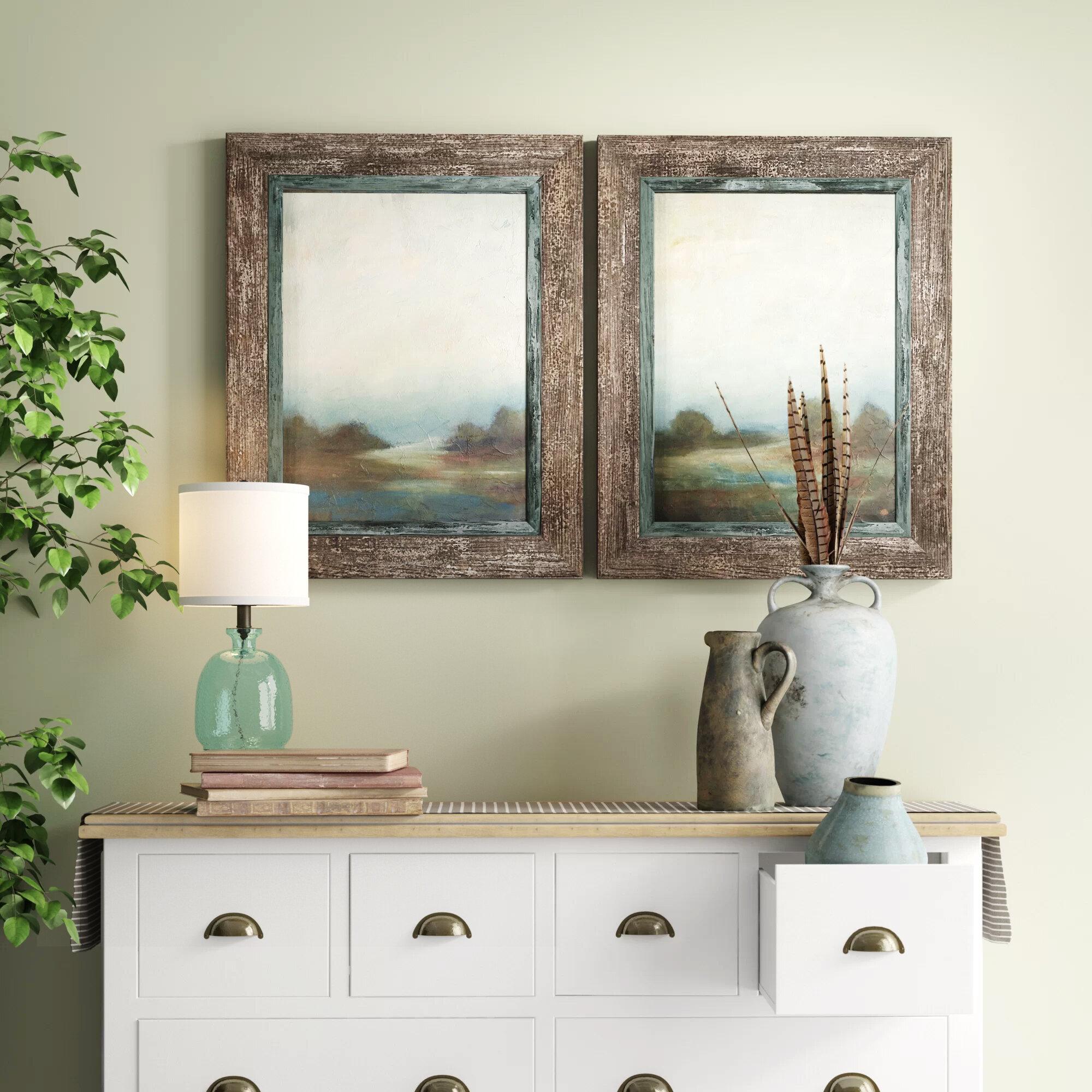 Farmhouse & Rustic Framed Wall Art | Birch Lane for Floral Wreath Wood Framed Wall Decor (Image 10 of 30)