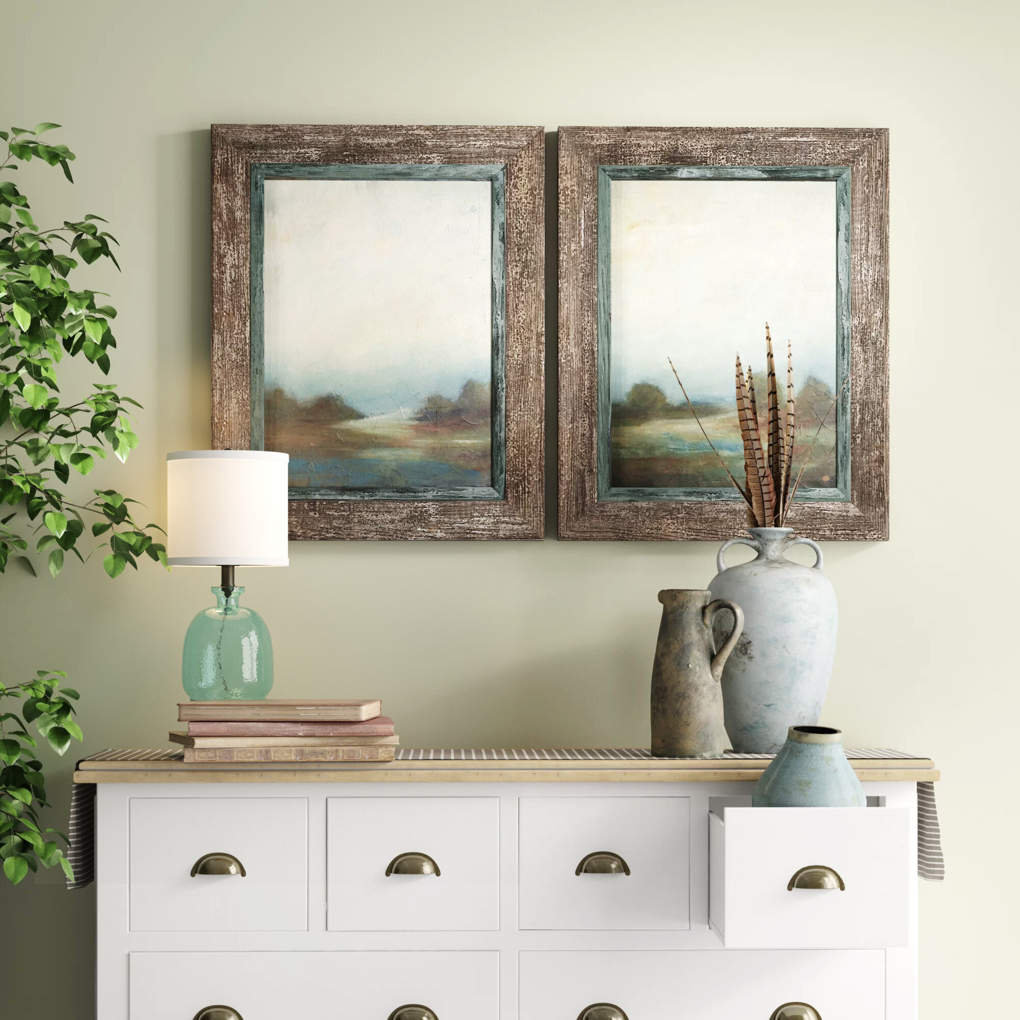 Farmhouse & Rustic Framed Wall Art | Birch Lane with 3 Piece Magnolia Brown Panel Wall Decor Sets (Image 13 of 30)