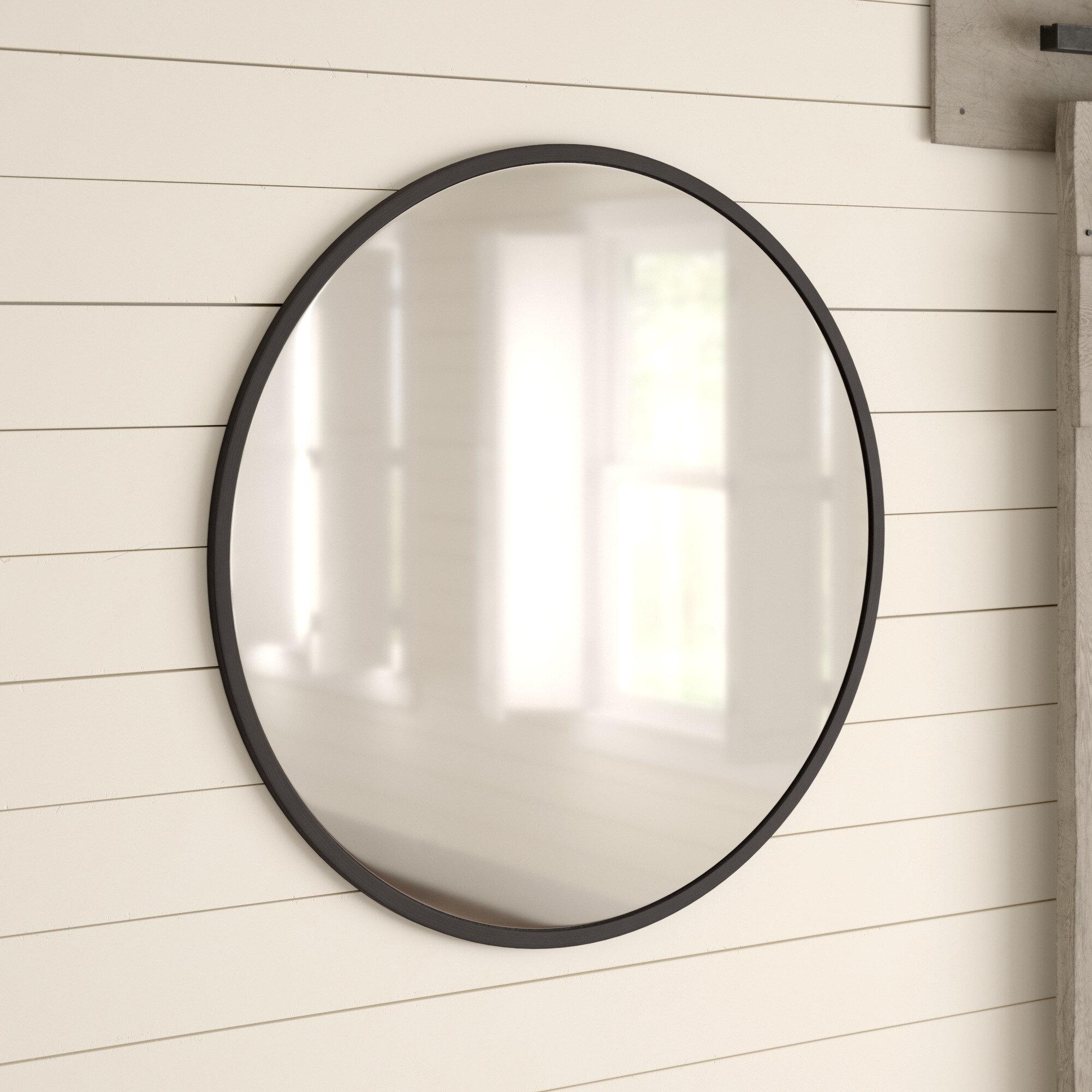 Farmhouse & Rustic Gray Bathroom Mirrors | Birch Lane regarding Koeller Industrial Metal Wall Mirrors (Image 6 of 30)