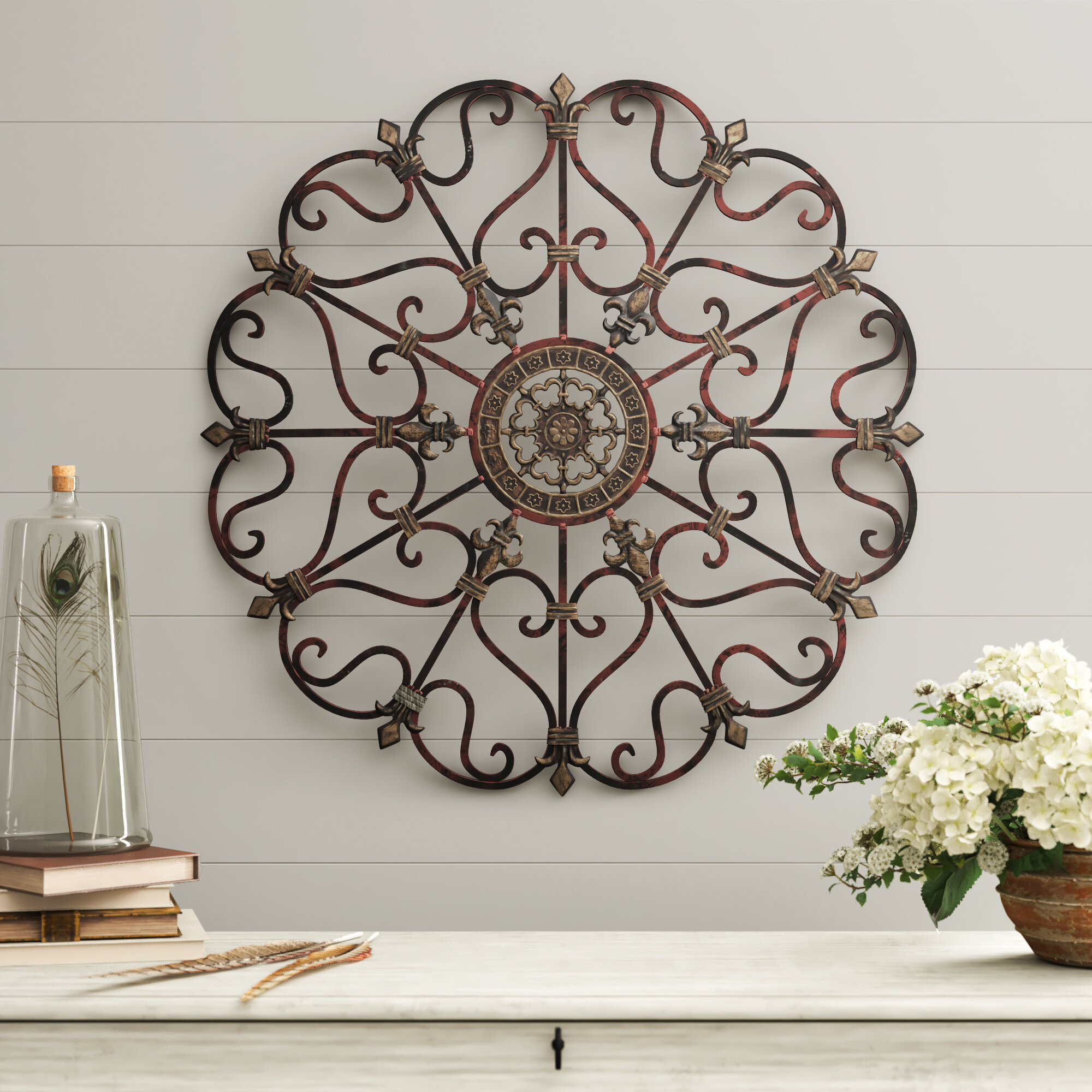 Farmhouse & Rustic Wall Decor | Birch Lane regarding Belle Circular Scroll Wall Decor (Image 8 of 30)
