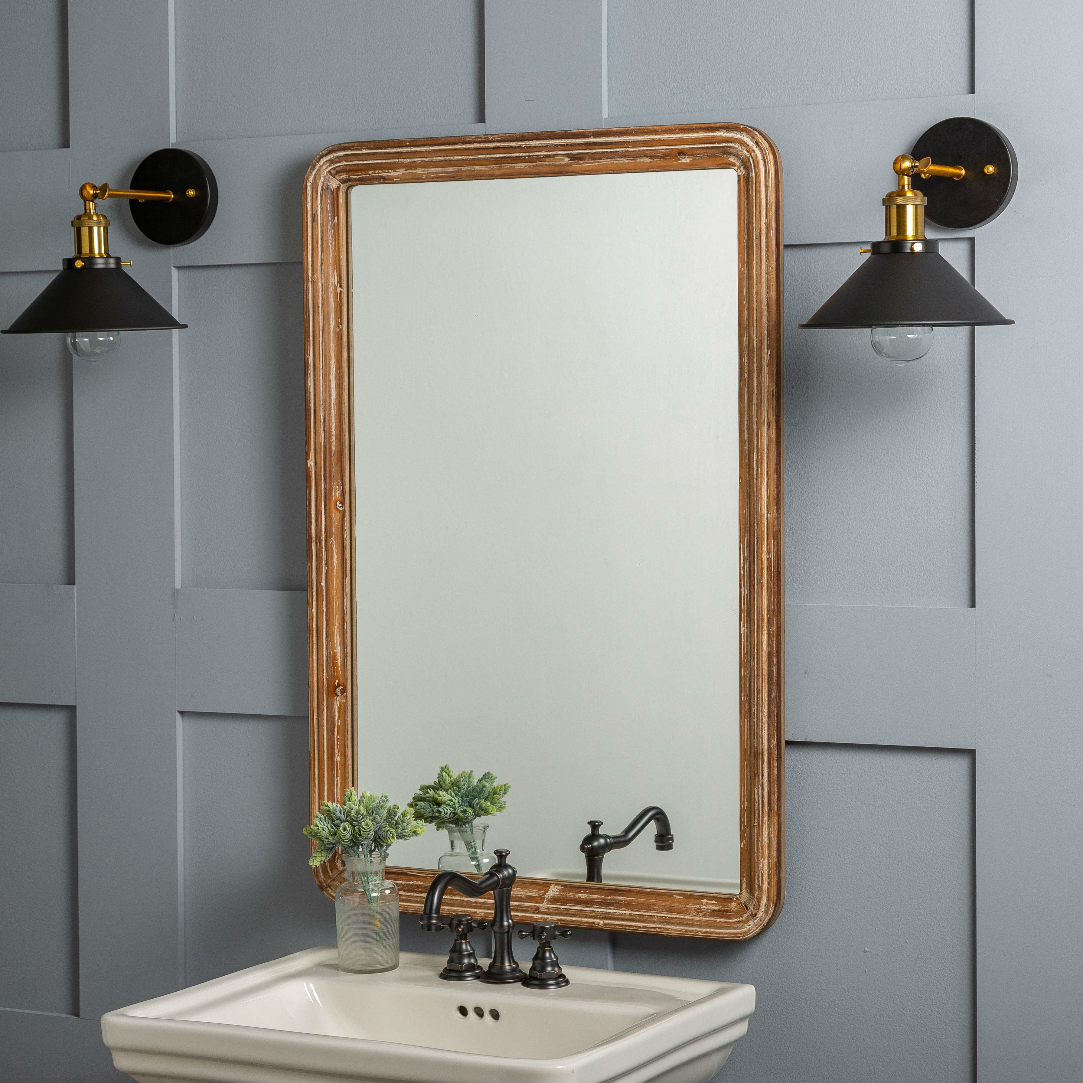 Farmhouse & Rustic Williston Forge Wall & Accent Mirrors in Koeller Industrial Metal Wall Mirrors (Image 8 of 30)