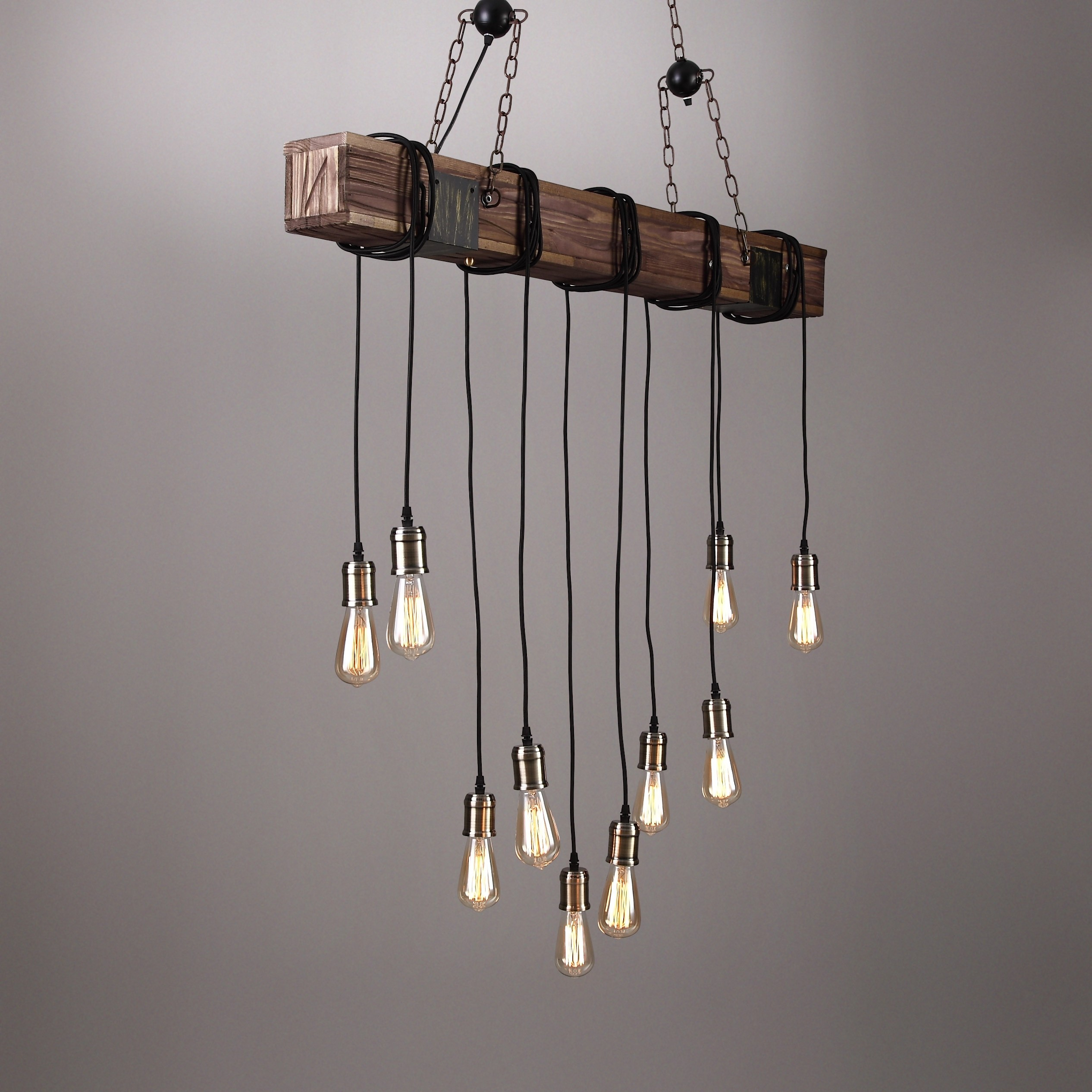 Farmhouse Style Dark Distressed Wood Beam Large Linear Island Pendant Light 10 Edison Bulbs In Vintage Edison 1 Light Bowl Pendants (View 17 of 30)