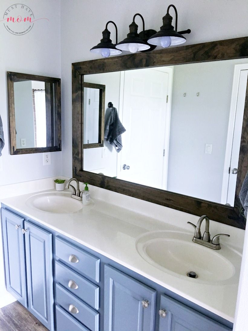 Farmhouse Style Diy Vanity Mirrors Tutorial | Our New House For Landover Rustic Distressed Bathroom/vanity Mirrors (View 12 of 30)