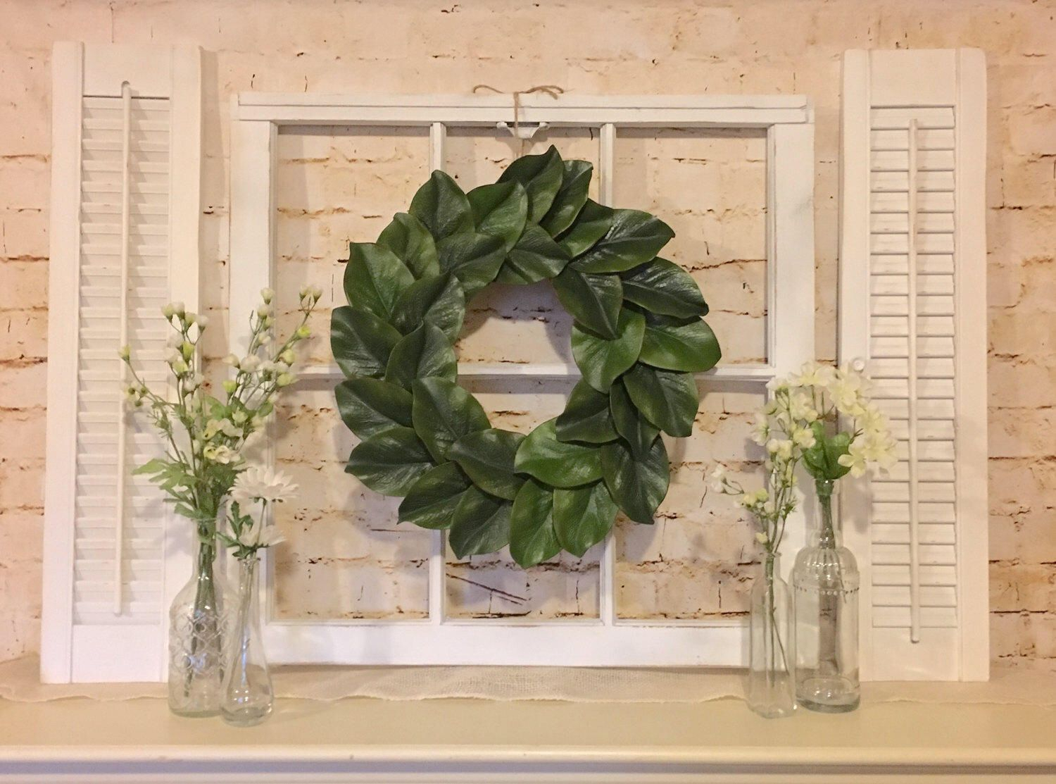 Farmhouse Wall Decor, Window Frame With Shutters, Magnolia in Floral Wreath Wood Framed Wall Decor (Image 12 of 30)