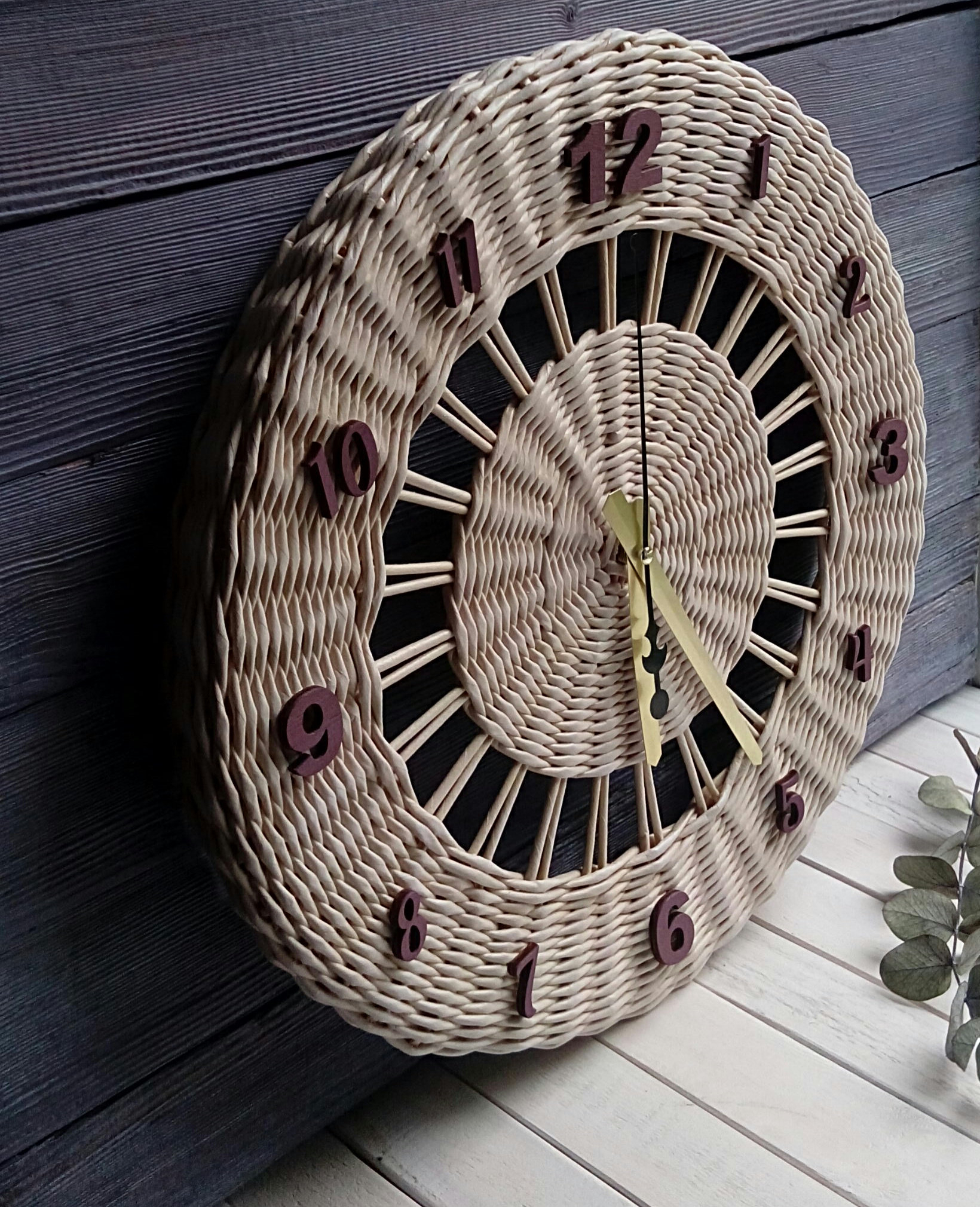 Farmhouse Wicker Wall Clock One Year Anniversary Paper Clock First  Anniversary Gift Personalized Cloc Wicker Wall Decor Large Wall Clock within 4 Piece Handwoven Wheel Wall Decor Sets (Image 15 of 30)
