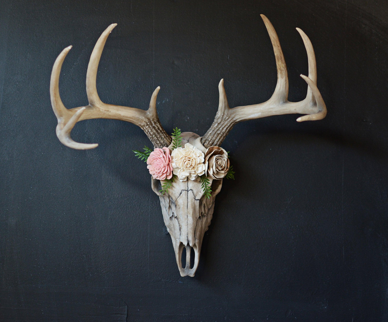 Faux Taxidermy, Large Deer Skull, Deer Skull, Floral Skull, Girl Decor, Skull Flowers, Faux Skull, Large Fake Skull, Deer Head, Wall Decor In Large Deer Head Faux Taxidermy Wall Decor (View 5 of 30)