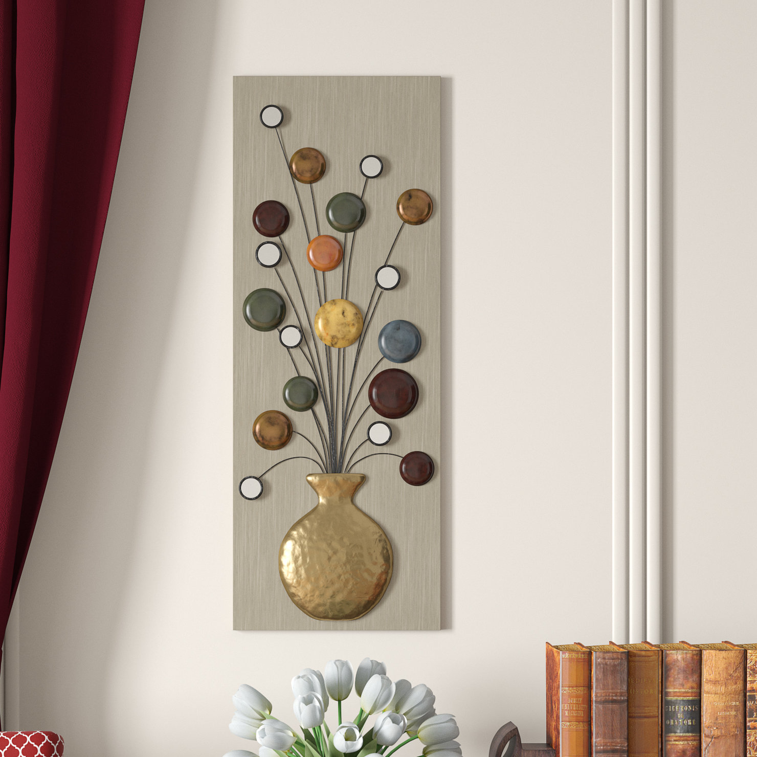 Faux Vase And Flower Metal Wall Décor with Metal Wall Decor by Charlton Home (Image 16 of 30)