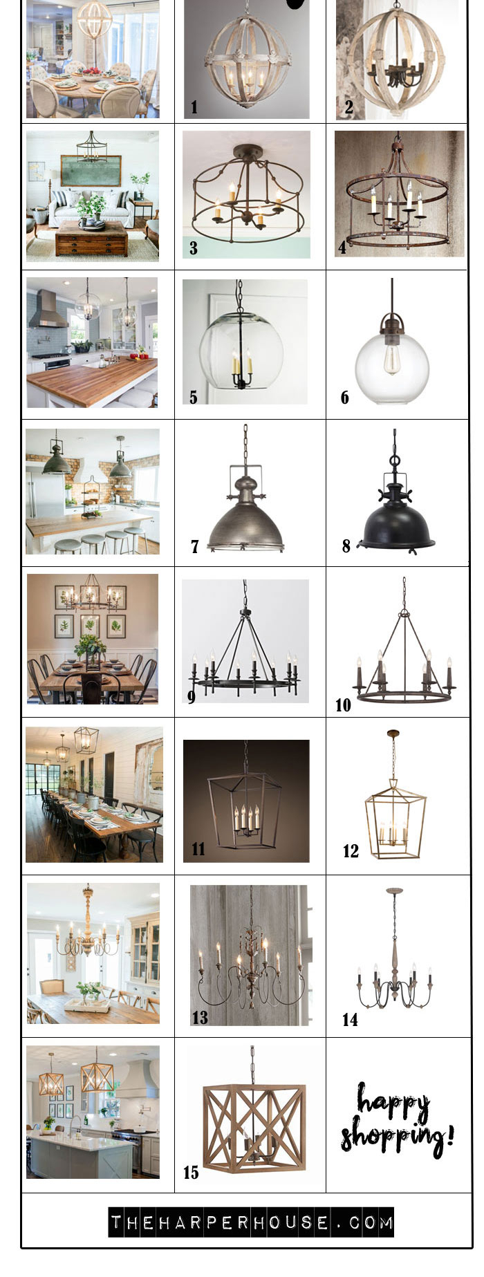 Favorite Light Fixtures For Fixer Upper Style | The Harper House Within Gaines 9 Light Candle Style Chandeliers (View 24 of 30)
