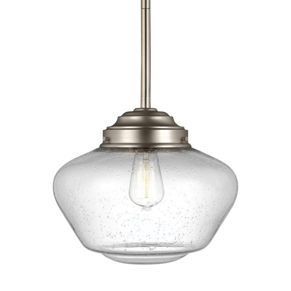 Feiss Alcott 1-Light Satin Nickel Pendant-P1386Sn | Products throughout Abernathy 1-Light Dome Pendants (Image 18 of 30)