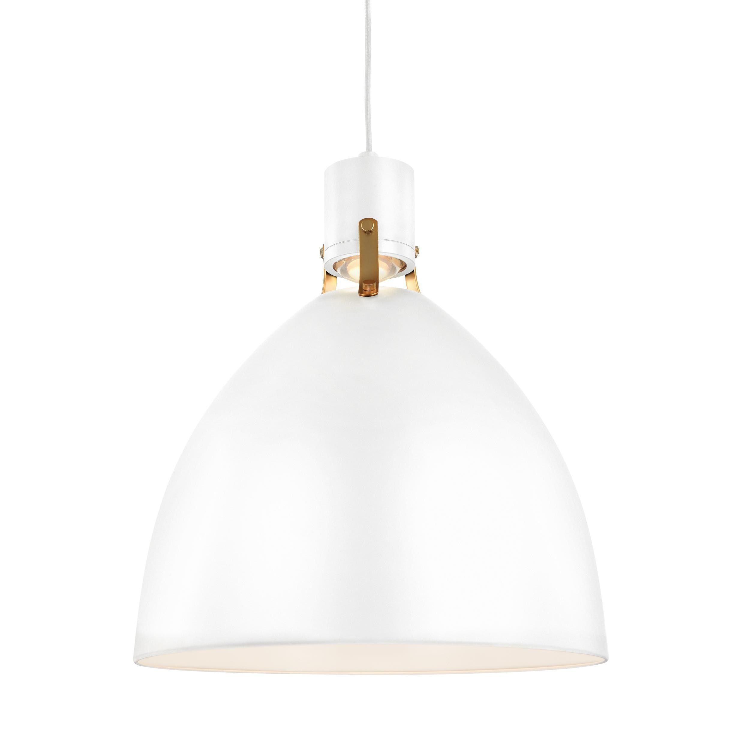 Feiss Brynne 1 Light Flat White Pendant In 2019 | Products Within Nadeau 1 Light Single Cone Pendants (View 12 of 30)