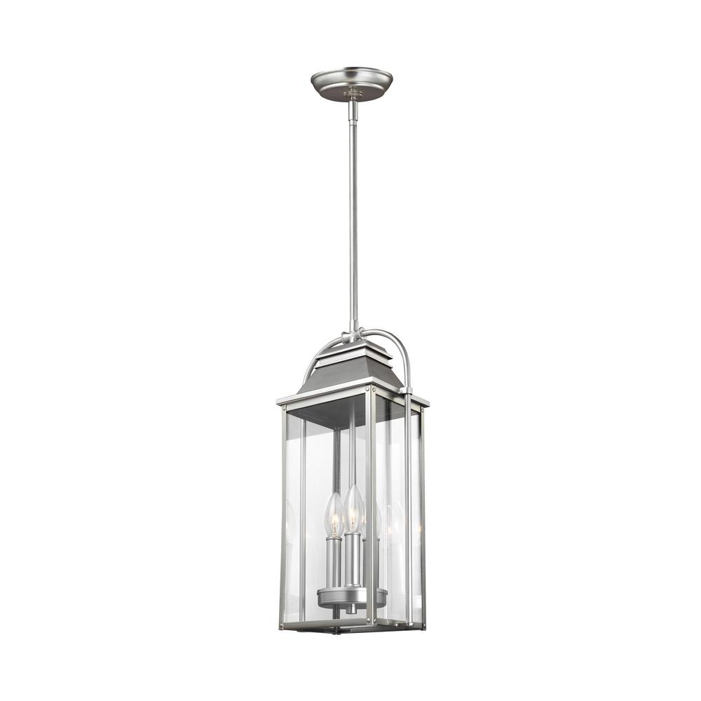 Feiss Wellsworth 3 Light Painted Brushed Steel Outdoor Throughout 3 Light Lantern Cylinder Pendants (View 20 of 30)