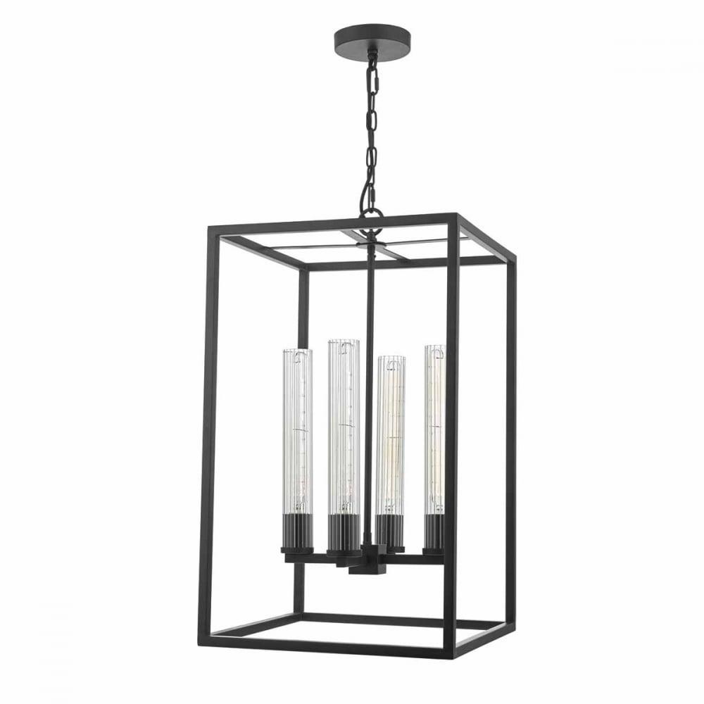 Felipe Black 4 Light Pendant Lantern With Tubular Ribbed Glass Shades With Regard To 4 Light Lantern Square / Rectangle Pendants (View 20 of 30)