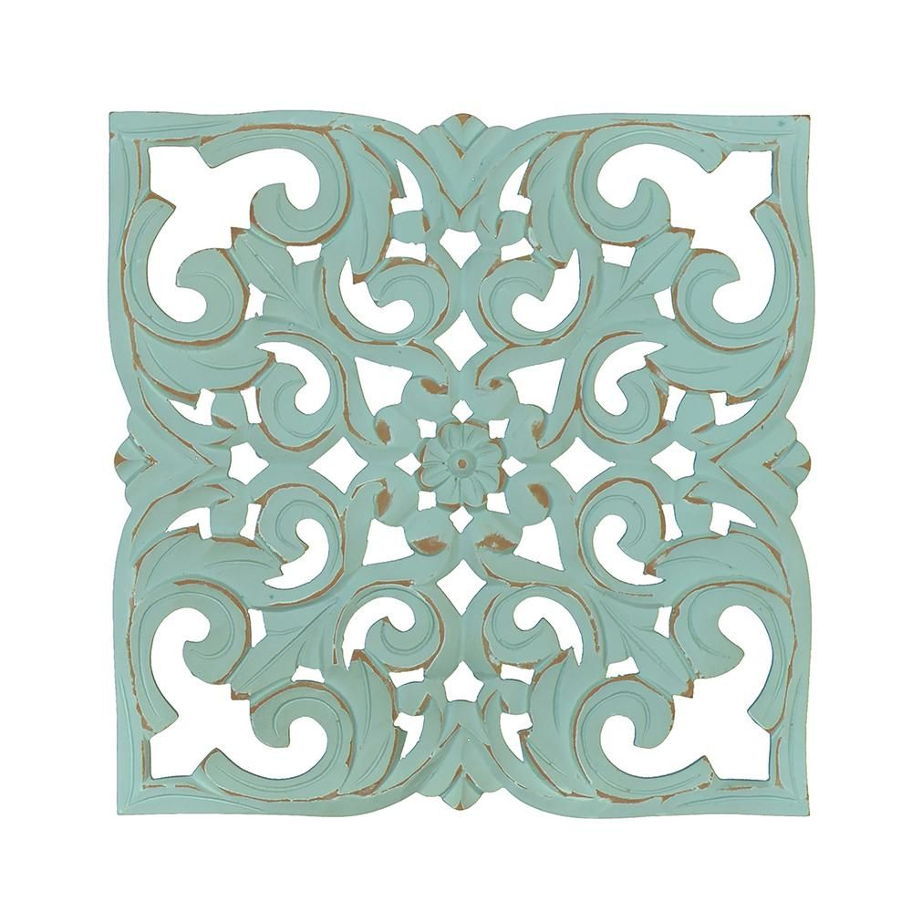 Fetco Denzel Teal Carved Wood Medallion, Blue | Products In in European Medallion Wall Decor (Image 11 of 30)