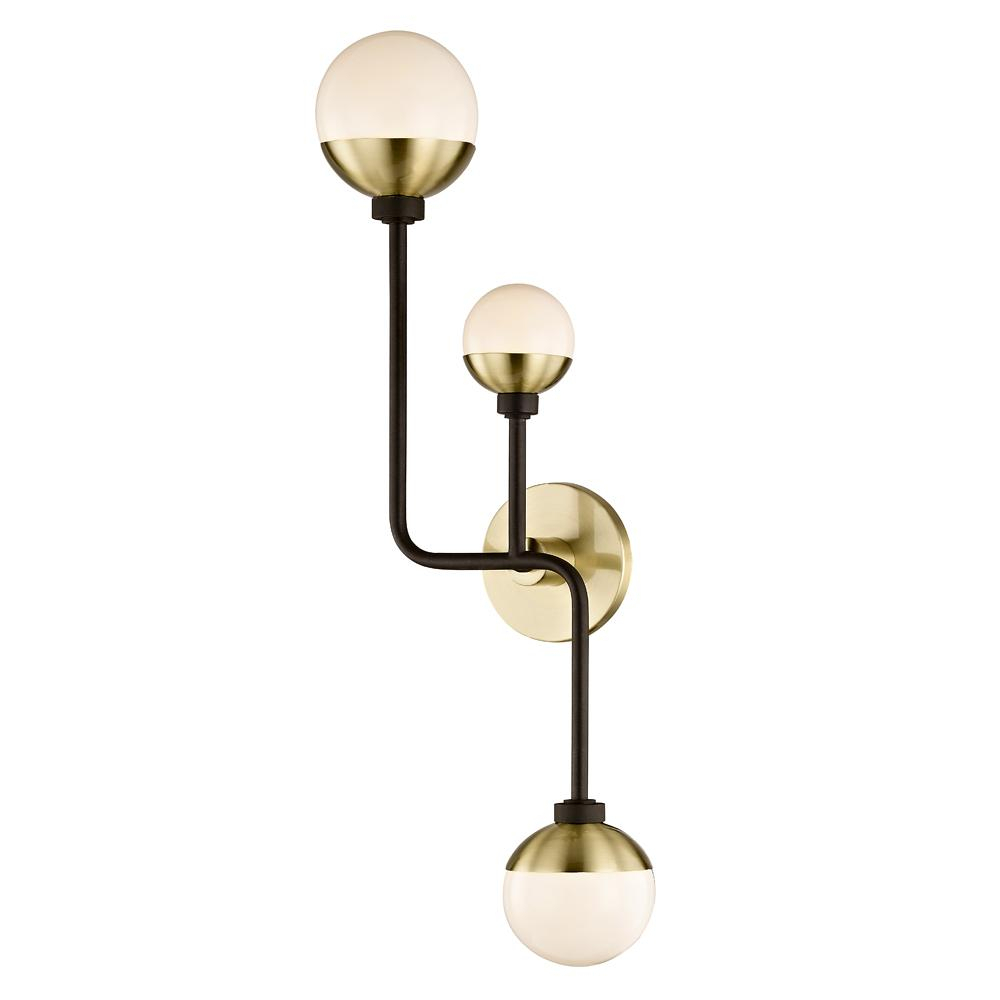 Fifth And Main Lighting Hipster 3 Light Bronze/brass Up And Down Wall Sconce With Glass Shade Throughout Demi 1 Light Globe Pendants (View 20 of 30)