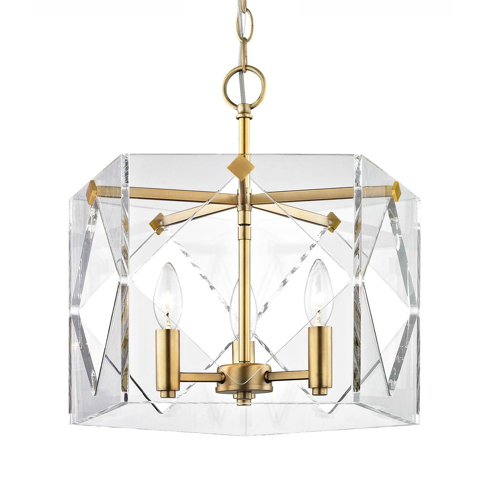 Fifth And Main Lighting Pentos 3 Light Aged Brass Acrylic Pendant Throughout Ariel 2 Light Kitchen Island Dome Pendants (Image 17 of 30)
