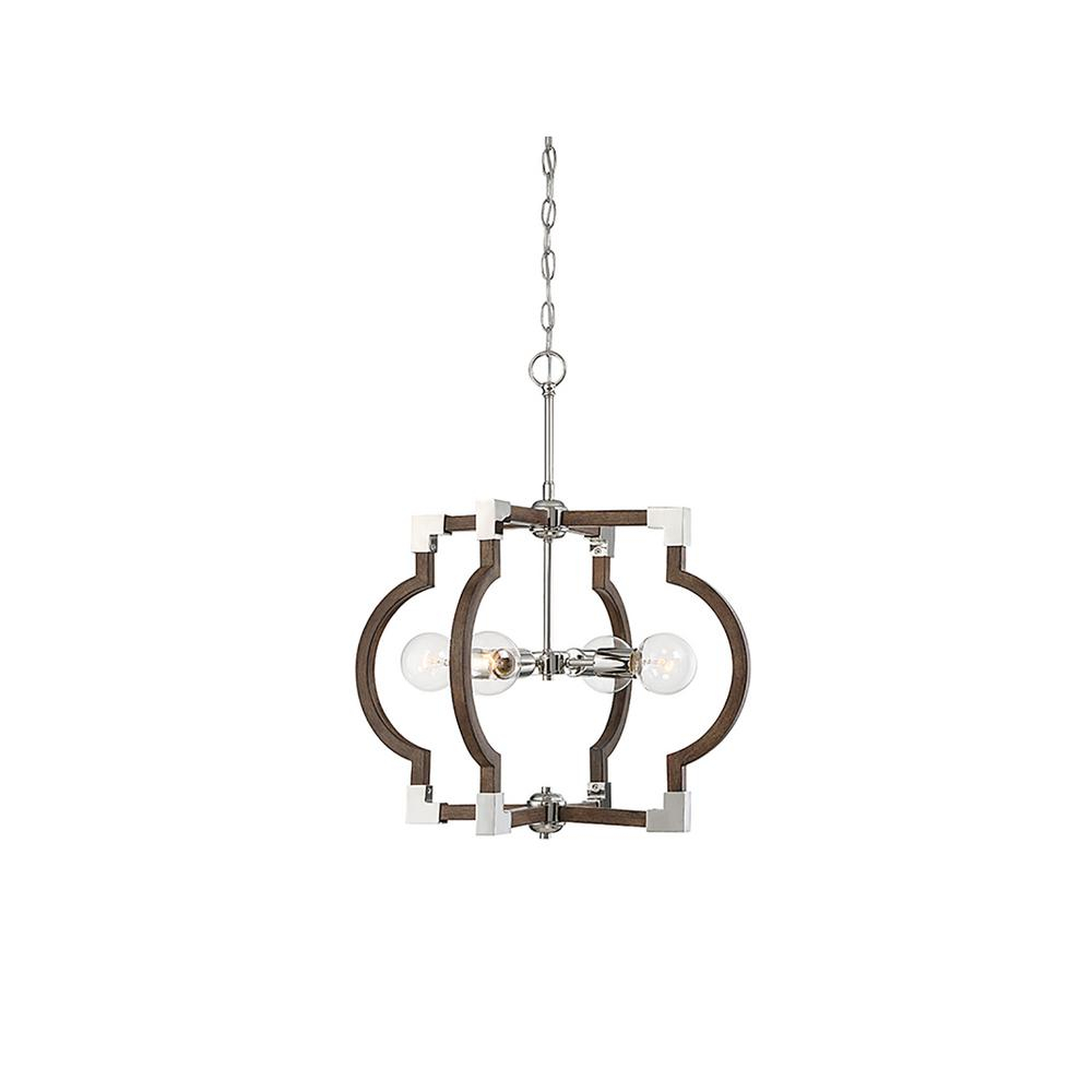 Filament Design 4-Light Dark Wood With Polished Nickel Pendant pertaining to Janette 5-Light Wagon Wheel Chandeliers (Image 8 of 30)