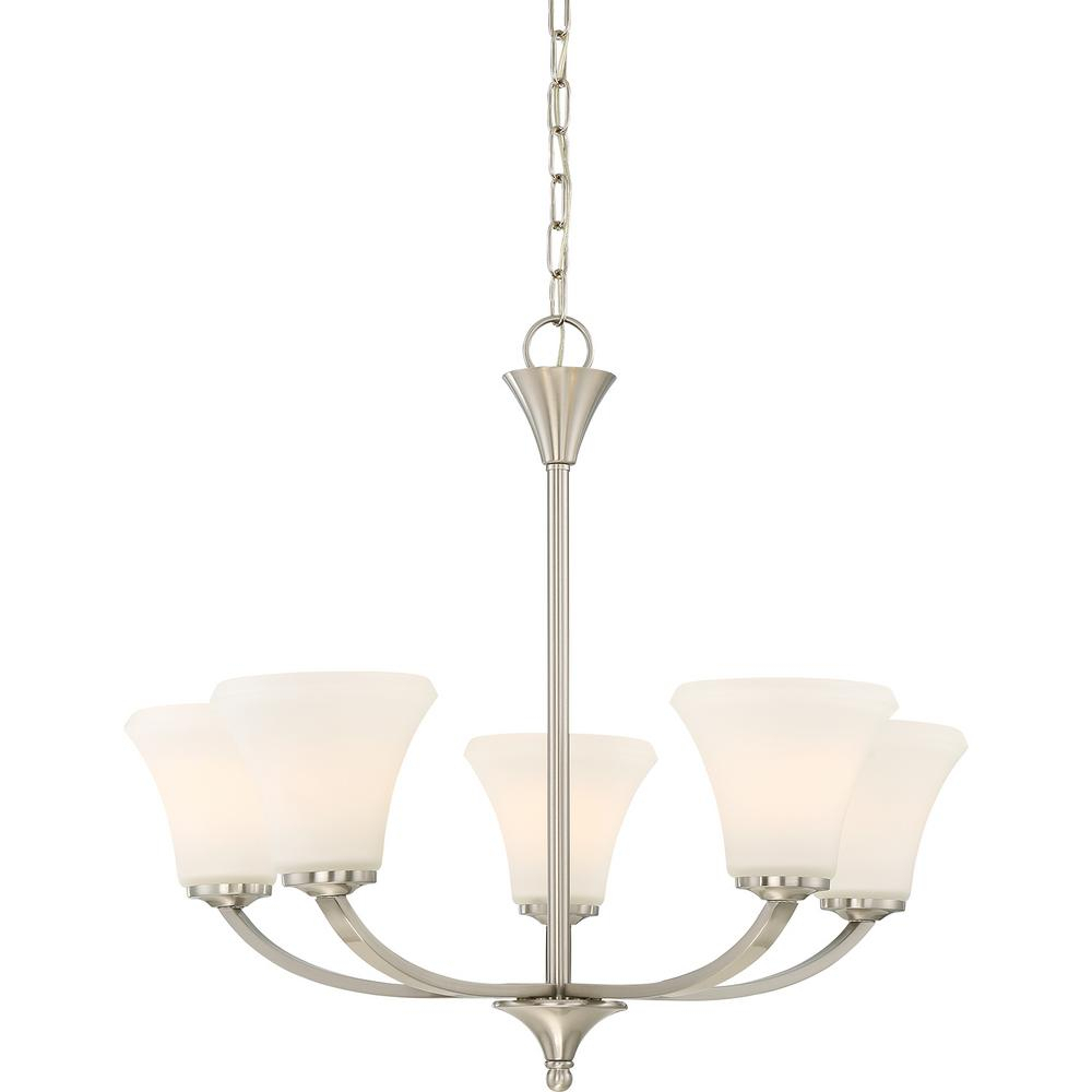 Filament Design 5 Light Brushed Nickel Chandelier With Regard To Gaines 5 Light Shaded Chandeliers (View 21 of 30)