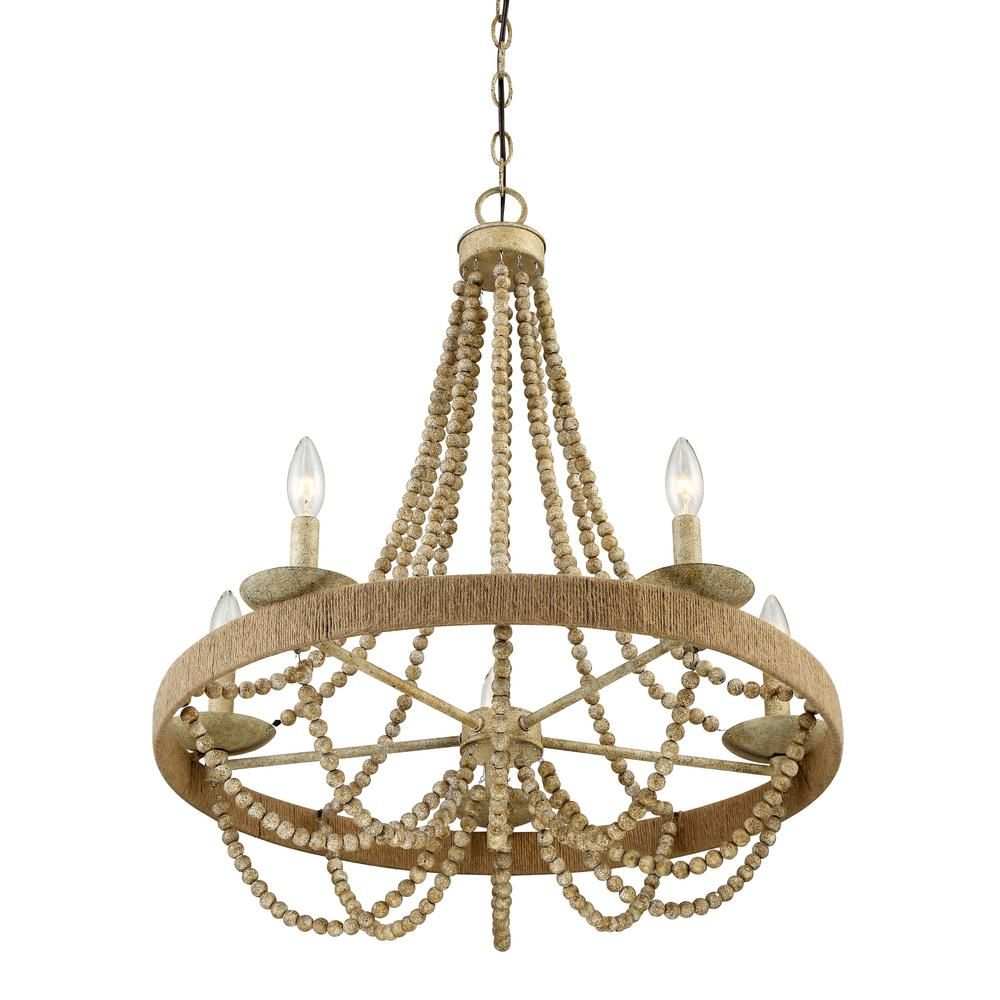 Filament Design 5 Light Natural Wood With Rope Chandelier With Regard To Duron 5 Light Empire Chandeliers (View 11 of 30)