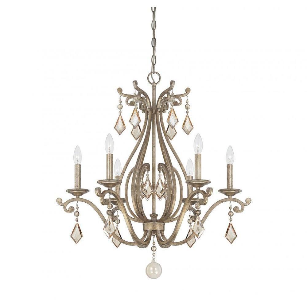 Filament Design Hermione 6-Light Oxidized Silver Chandelier within Hermione 1-Light Single Drum Pendants (Image 10 of 30)