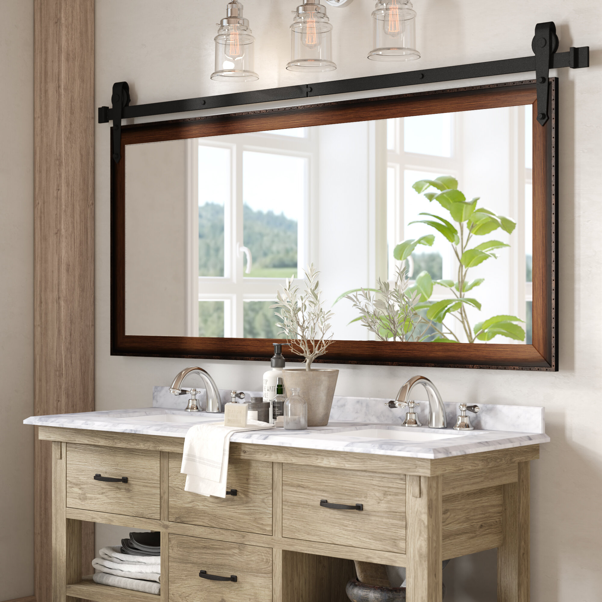 Find The Perfect Vanity Mirrors | Wayfair For Landover Rustic Distressed Bathroom/vanity Mirrors (View 13 of 30)